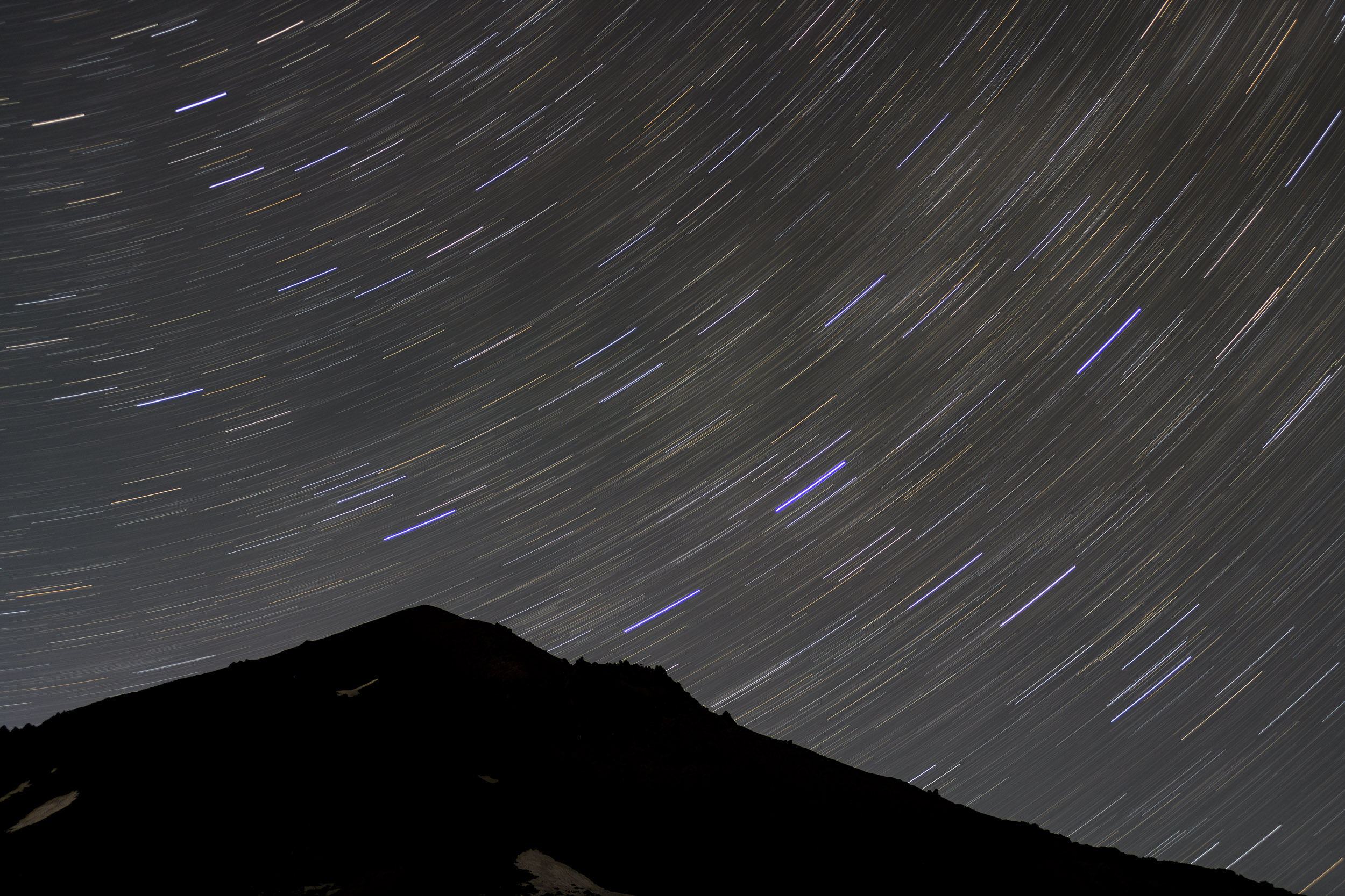 Figure 7. Star trails over Lassen Peak. Nikon D850 with a Nikon 80-200mm f/2.8 lens. 13 minutes, f/2.8, ISO 160.