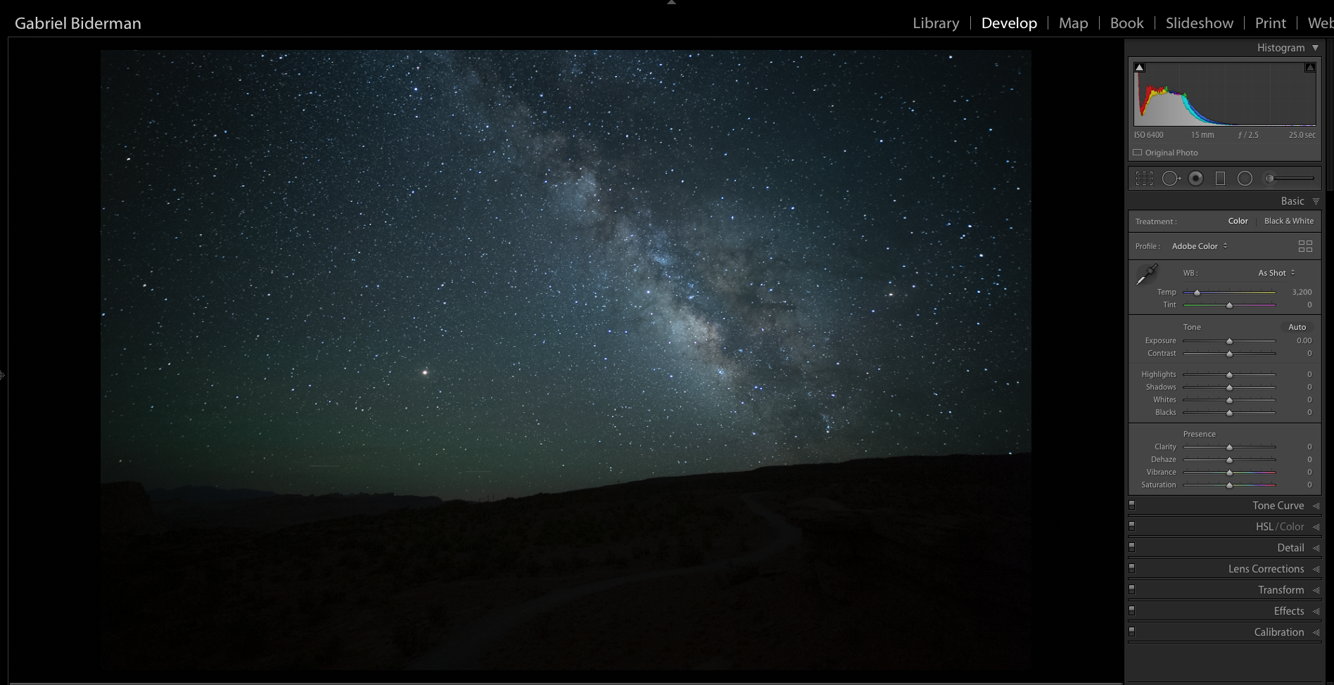 Figure 1.  Nikon D5  with an  Irix 15mm f/2.4  lens. 25 seconds, f/2.5, ISO 6400.