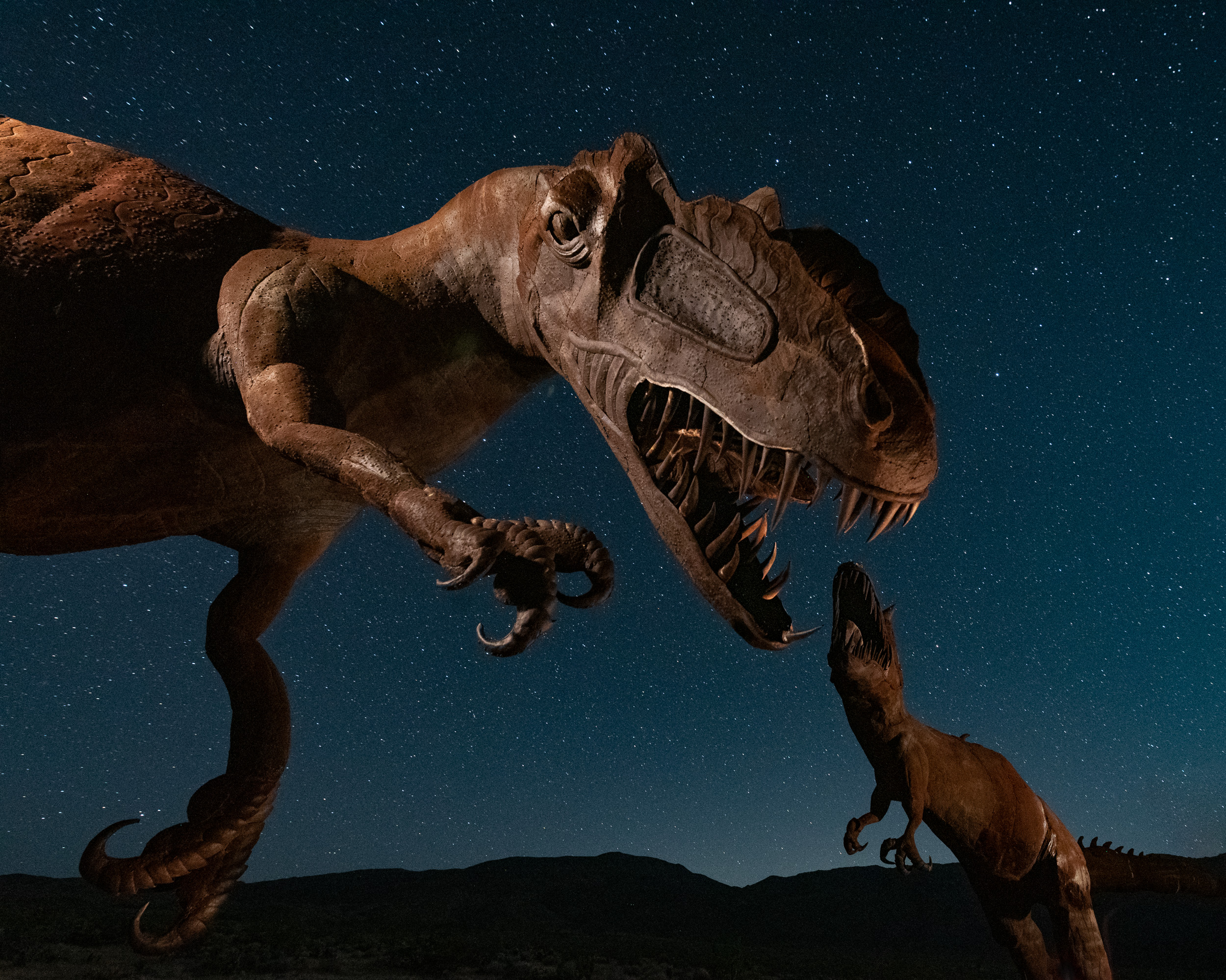 Jurassic Park in the Anza-Borrego Desert. Two life-size dinosaurs battle it out underneath the stars.  Nikon D750  with an  Irix 15mm f/2.4  lens, mounted on a  Manfrotto 190go!  tripod with an  Acratech GP-s  ball head, light painted with a  Luxli Viola . 25 seconds, f/4.5, ISO 4000.