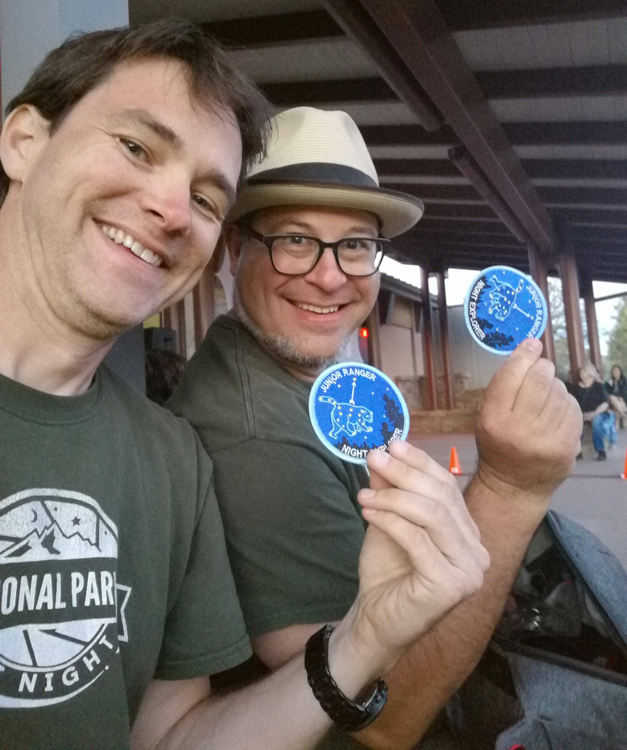 Gabe and I with our hard-earned Junior Ranger Night Explorer patches.