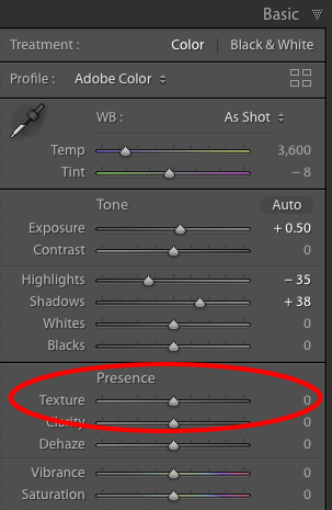 Lightroom's new Texture slider.