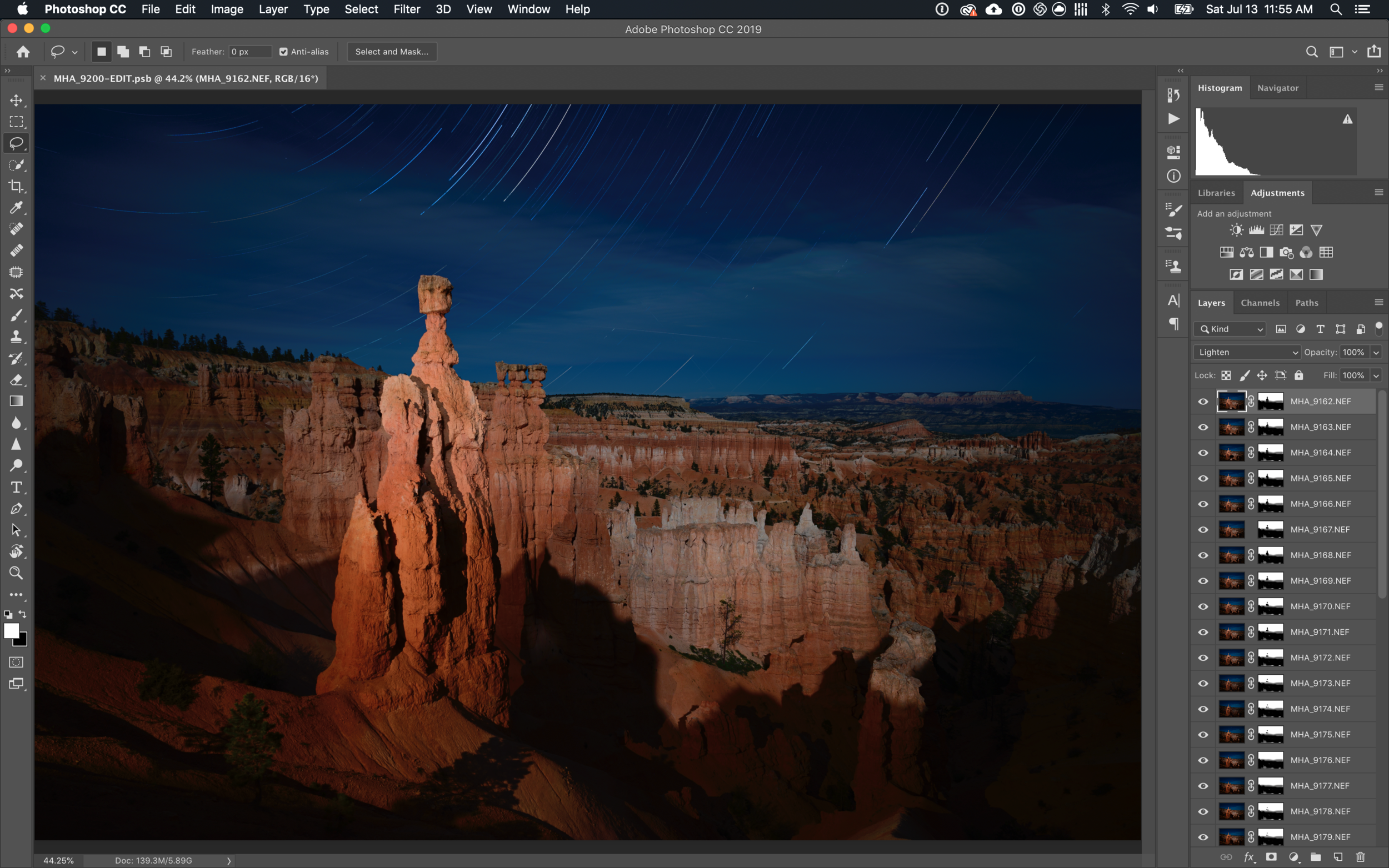 A 4 GB, 38-layer PSB file from Matt. Files this big don't show up in the Lightroom catalog.