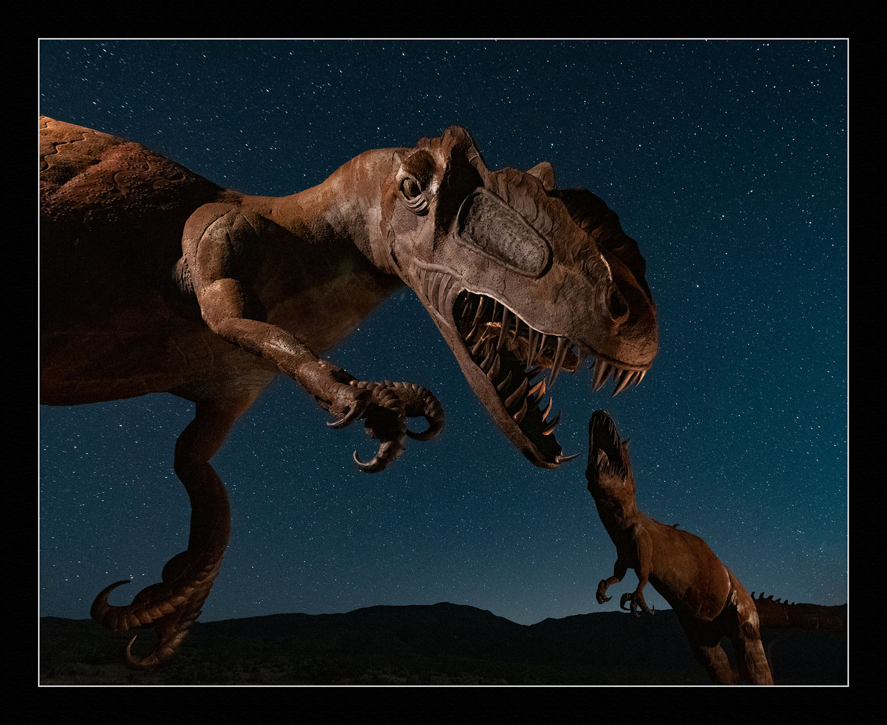 Dueling Dinosaurs, Borrego Springs, California.  Nikon D750  with an  Irix 15mm f/2.4  lens, lit with a  Luxli Viola  and  Maglite Mini . 25 seconds, f/4.5, ISO 4000.