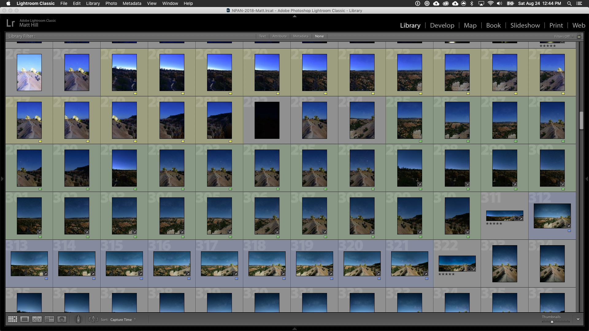 All my frames for the Bryce Canyon pano, from each of the three lenses.