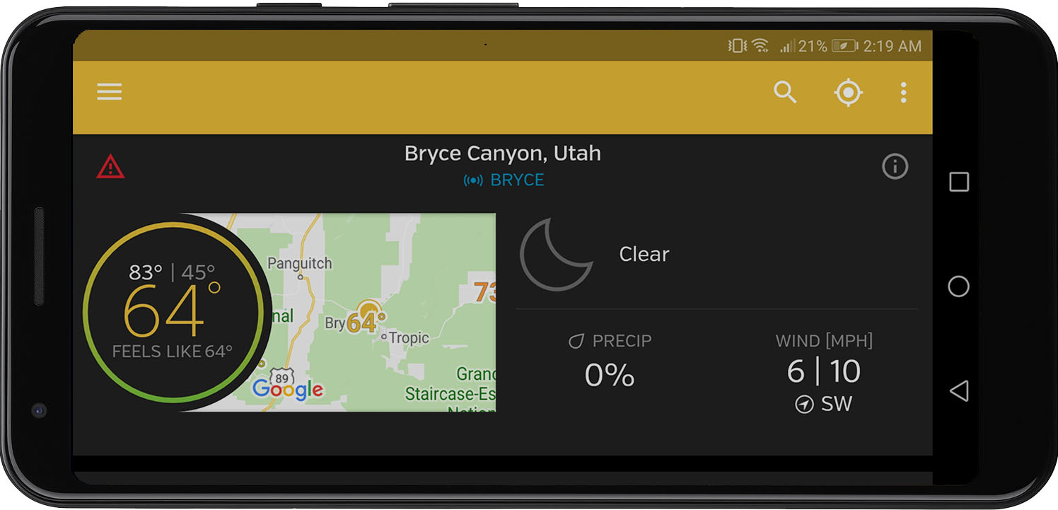 Weather Underground's prediction for Bryce Canyon National Park. Looks great for night photography!