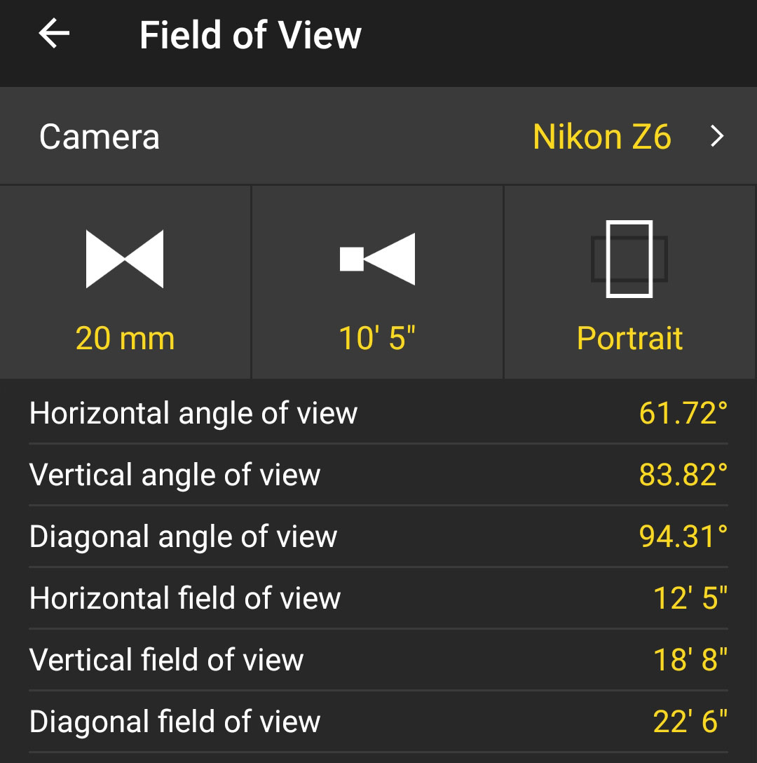 PhotoPills angle of view data for my 20mm mounted on my Z 6.