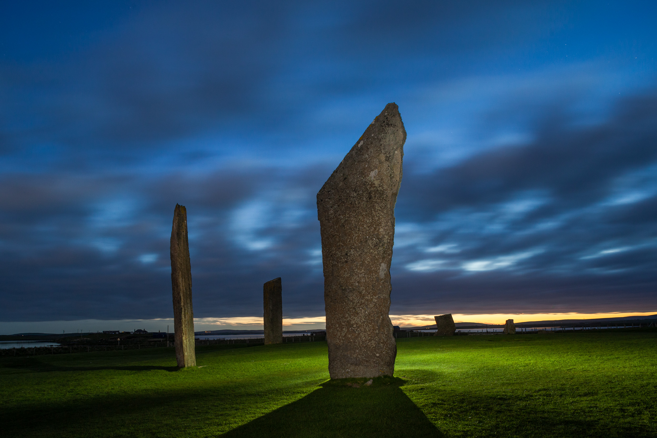 Stones of Stenness, Orkney, Scotland. Canon 5D with a Nikkor 28mm f/3.5 PC lens. 30 seconds, f/8, ISO 800.