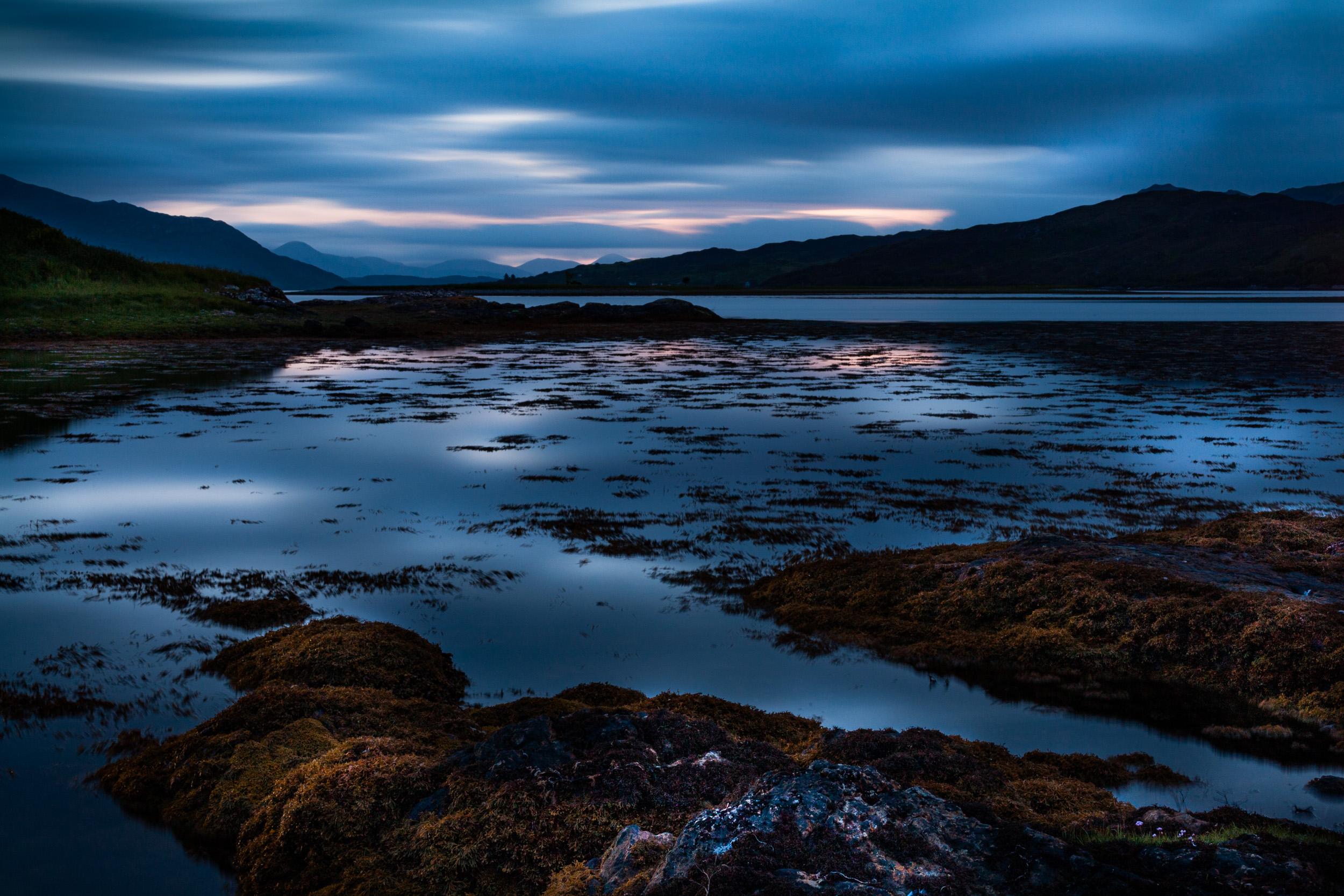 Dornee, Kyle of Loch Alsh, Scotland. Canon 5D, Canon EF 50mm f/2.5 macro lens. 4 minutes, f/22, ISO 100.