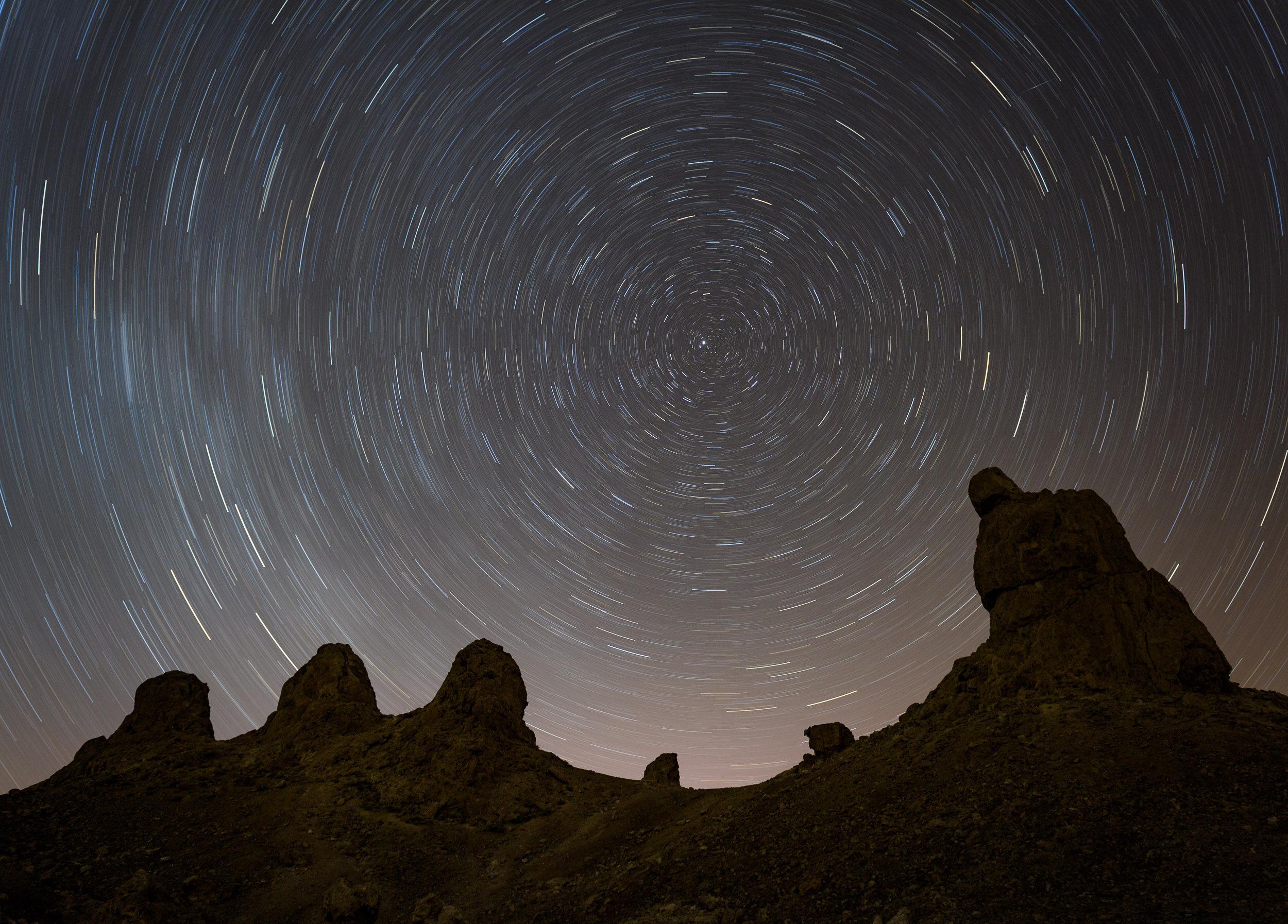 Star Circles over Trona Pinnacles, California. Nikon D5 with a Nikon 24-70mm f/2.8 lens. 31 minutes, f/4, ISO 100.
