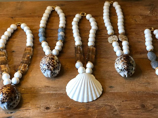 It's a SHELL of a SALE!!🐚 TACK SHELL NECKLACES  Normally $250, on sale for $180 ***This week only!!*** www.tackcreations.com #tackcreations #summer2019 #shellnecklaces #handmadejewelry #makeastatement #madewithlove