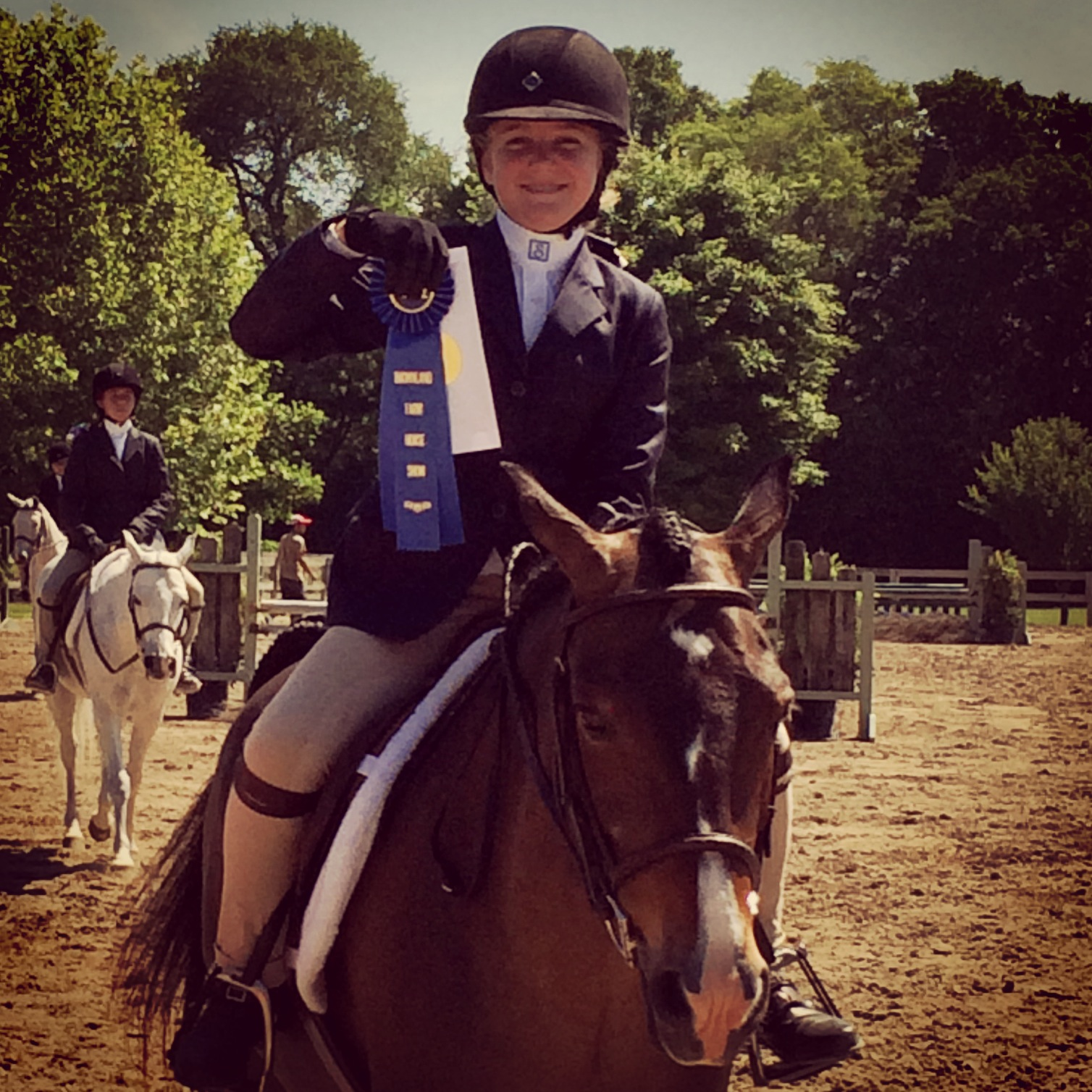 "Sarah Comer and ""Forever So Clever"" winning blue @ Brownland Farm"
