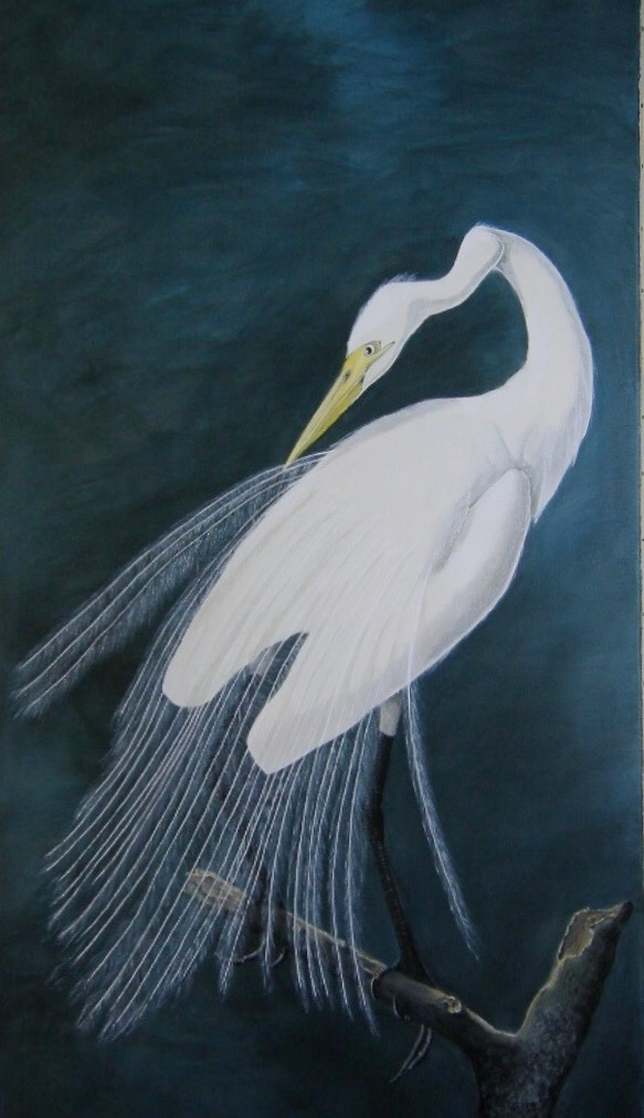 Audubon Great Egret, 6ft acrylic on canvas dining room Surrey.jpg