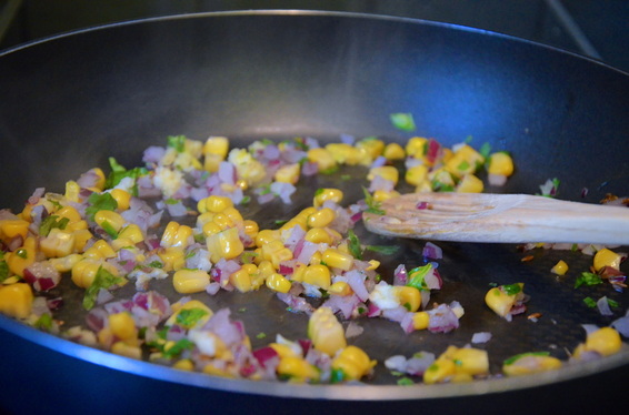 -lightly saute corn, onions, cumin seeds, garam masala, and coriander with a tbsp of vegetable oil.