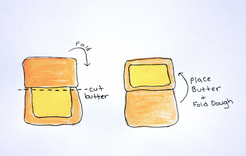 7 fold over the top piece of dough over the butter/ carefully cut the remainder of the butter without cutting the dough and place the butter on top of the folded dough/ fold the bottom flap of dough on top of butter