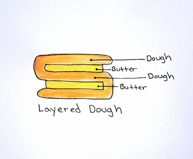 8. This is how your layered dough should look. This is what makes the dough puff.