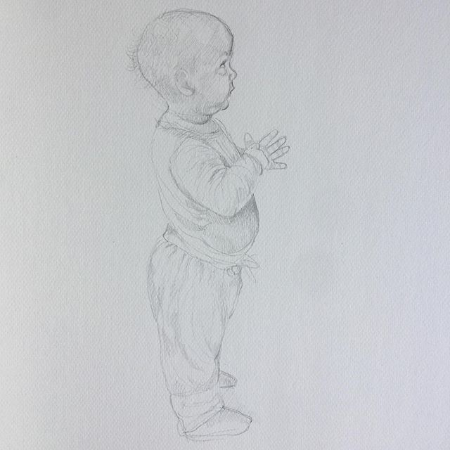 """""""Milla"""", graphite on Canson paper. Small fast drawing I did the other day.  #art #drawing #graphite #canson #niece #baby #niese #tegning #kunst #artist #kunstner #sculptor #norwegianart #norge #norway #fulbright #nycart #newyork #family #figurativeart #figurative"""