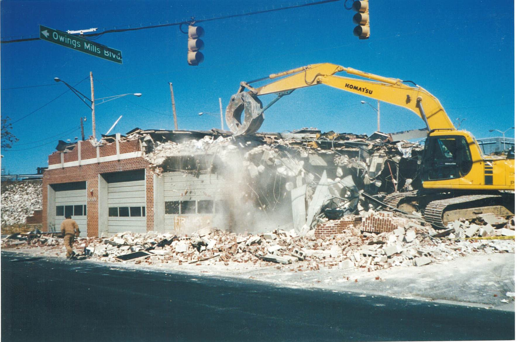 Demolition of the original fire station, located at 10401 Reisterstown Road.