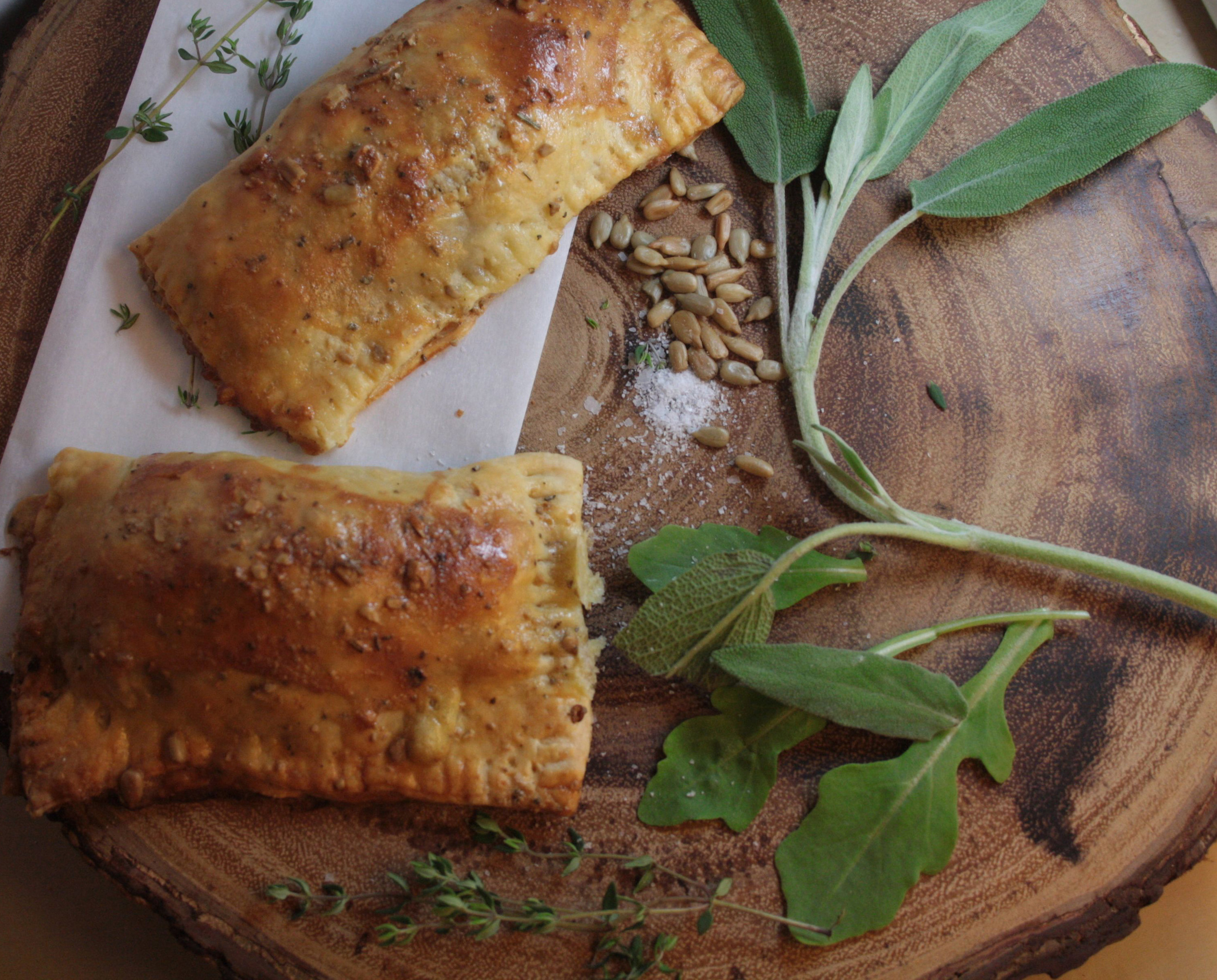 Canadian-style empanadas with peameal bacon, cheddar and sage