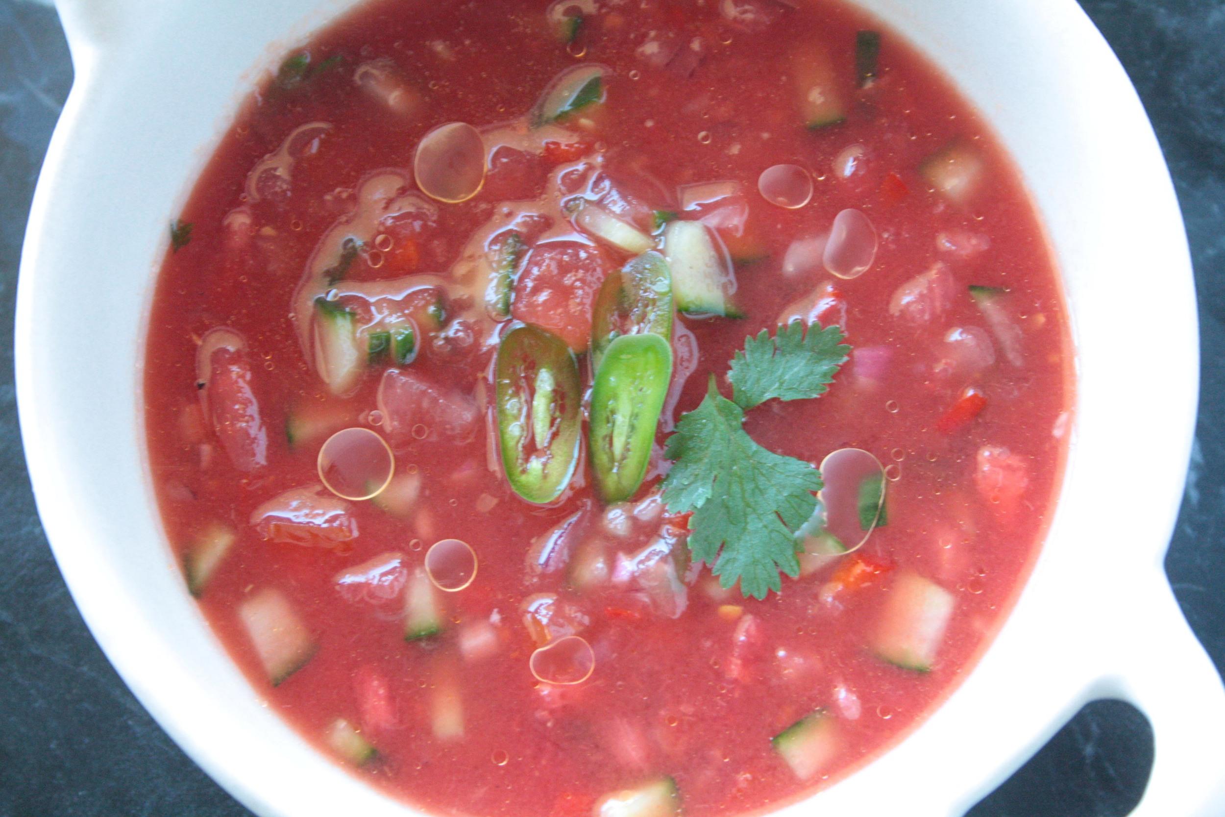 Close up of Watermelon Gazpacho