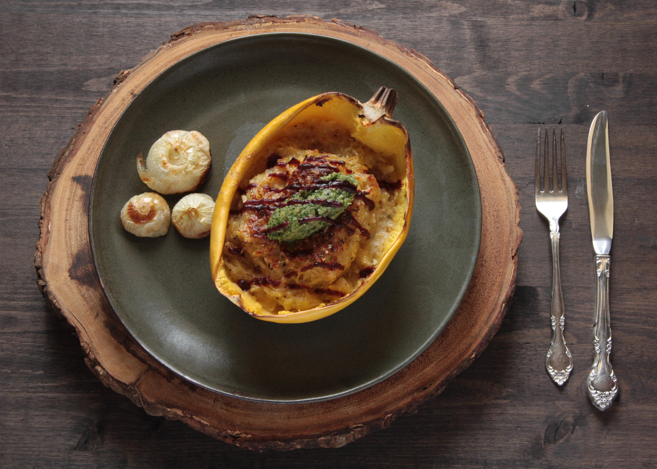 Spaghetti Squash with Chestnut Pesto and Cranberry Balsamic