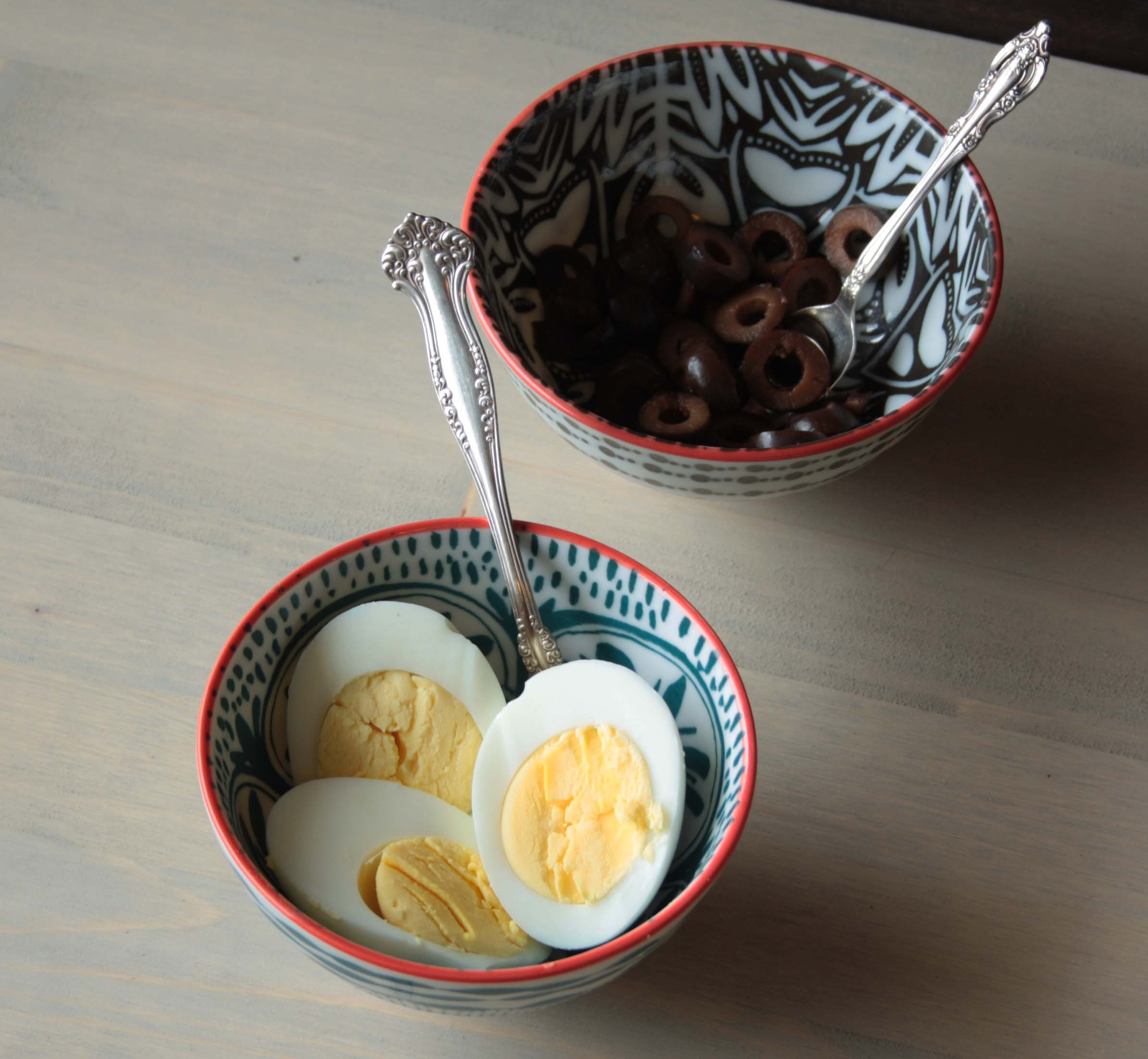 Black olives and harb boiled eggs