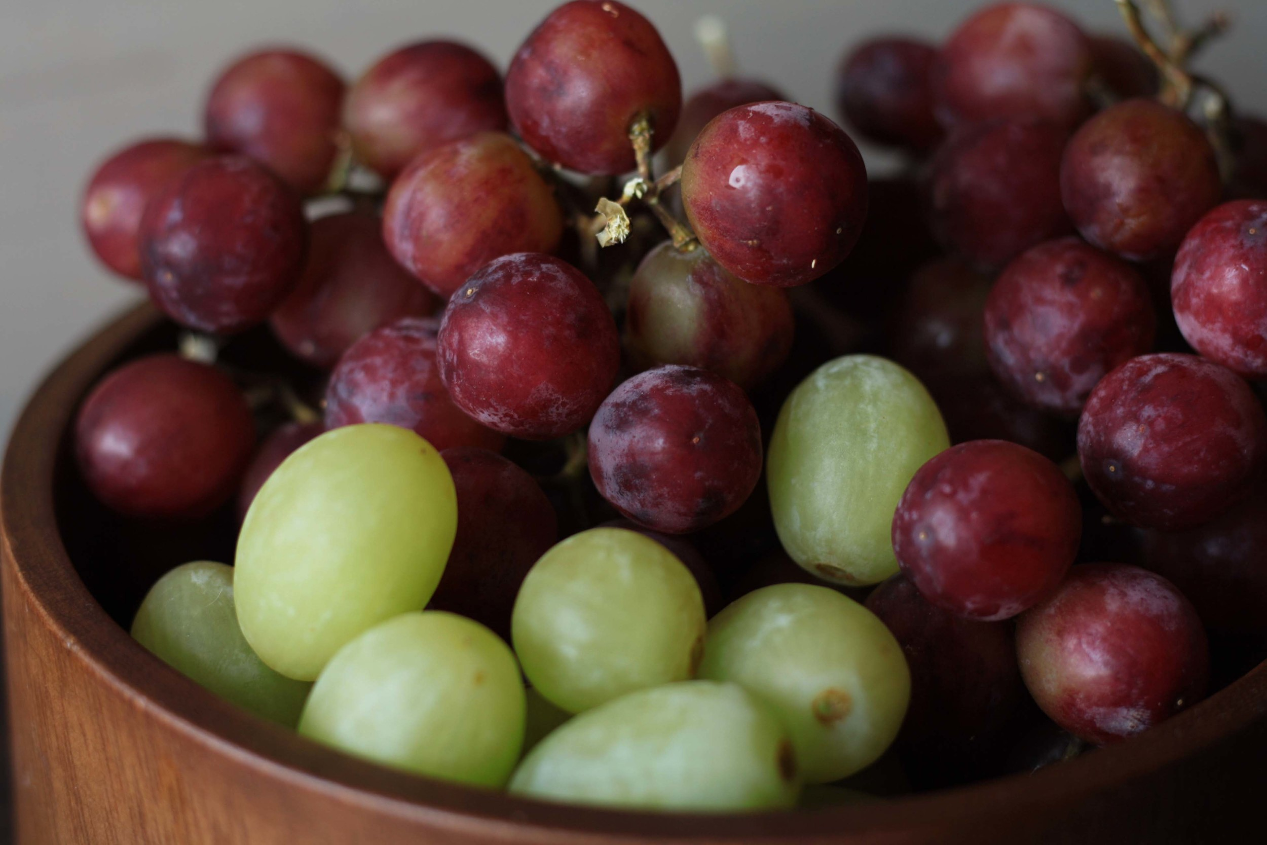 Warm Grape Crostini - close up of red and green grapes