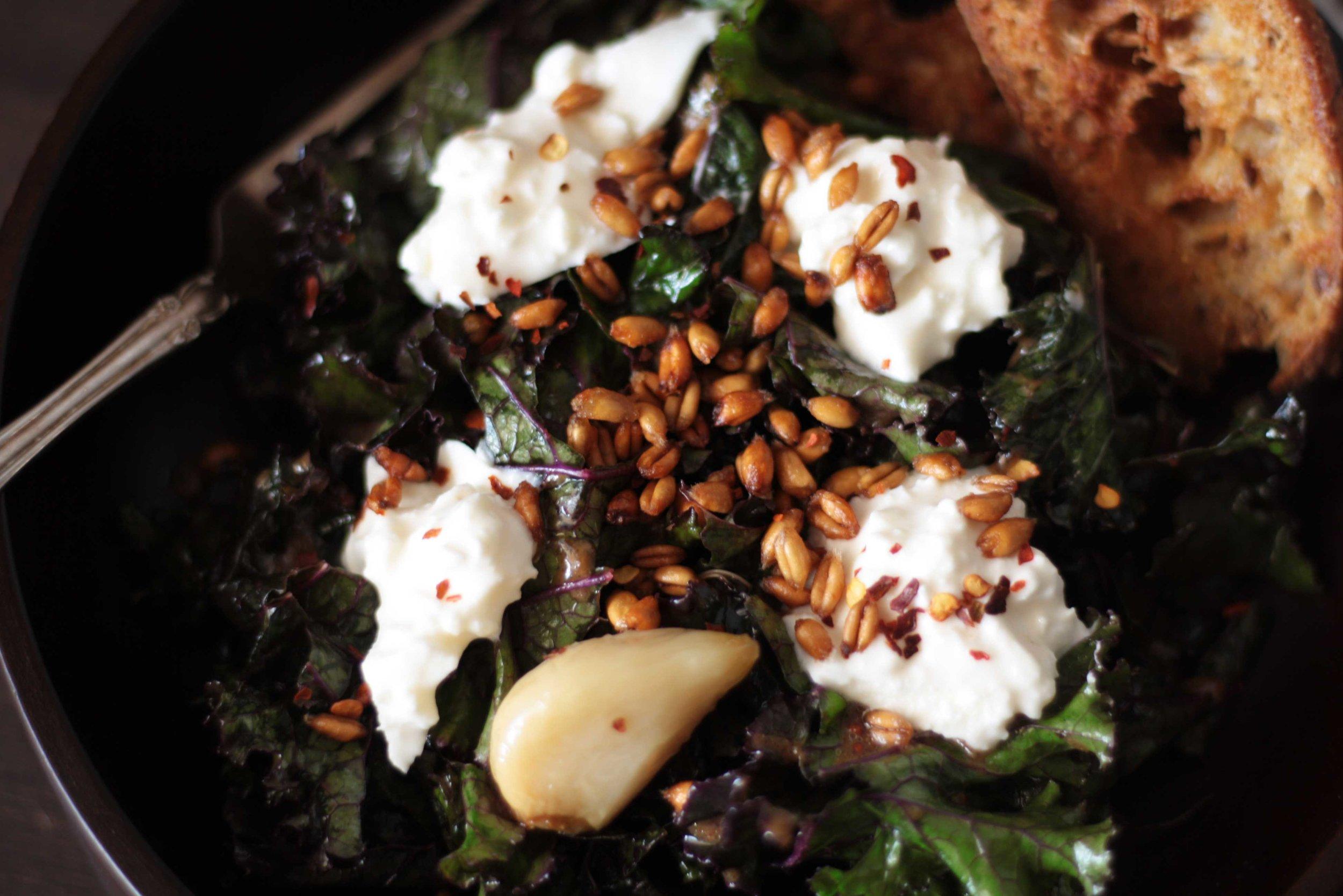 Burrata, Bruised Kale and Bread Salad with Crispy Farro