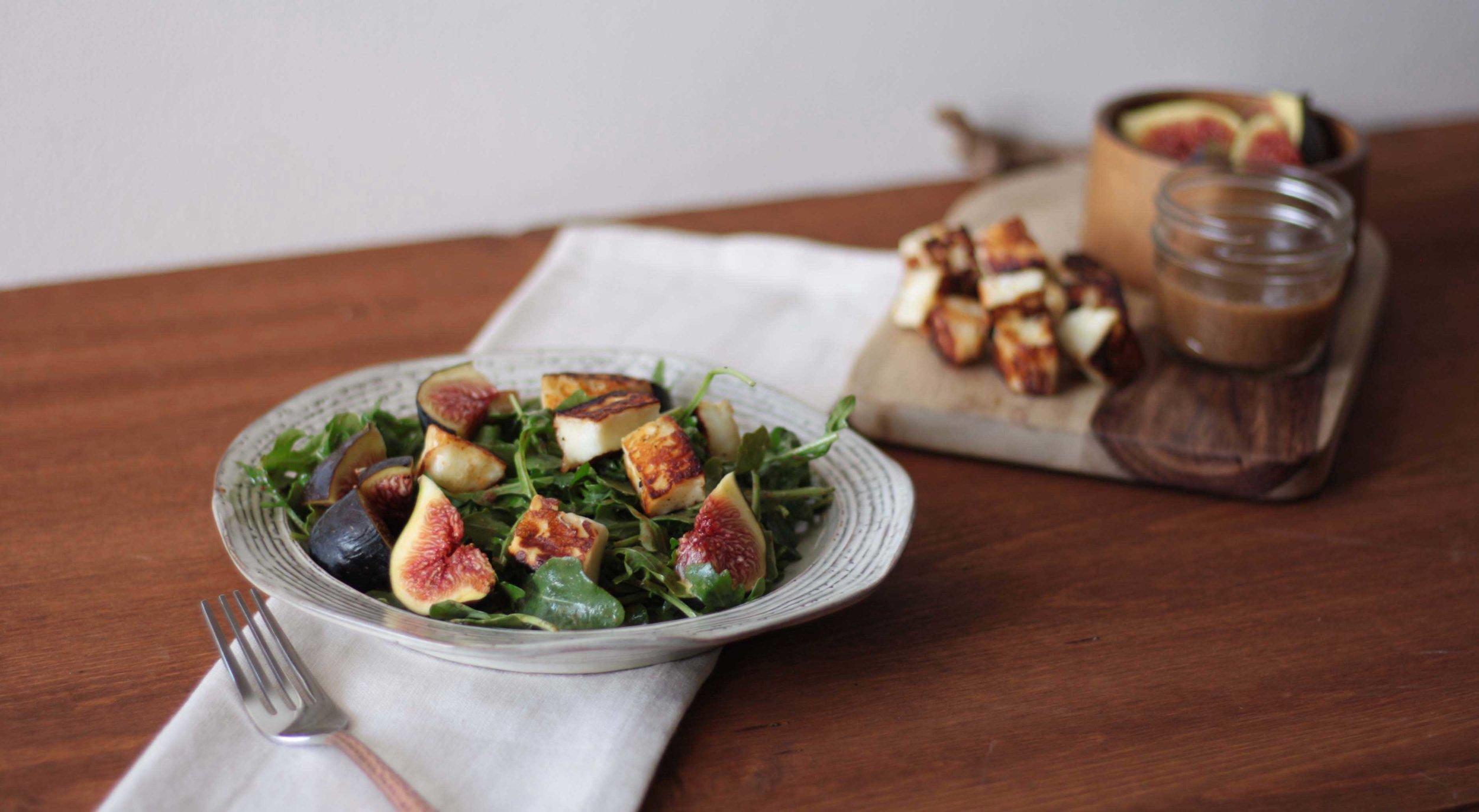 Fried Halloumi and Fig Salad