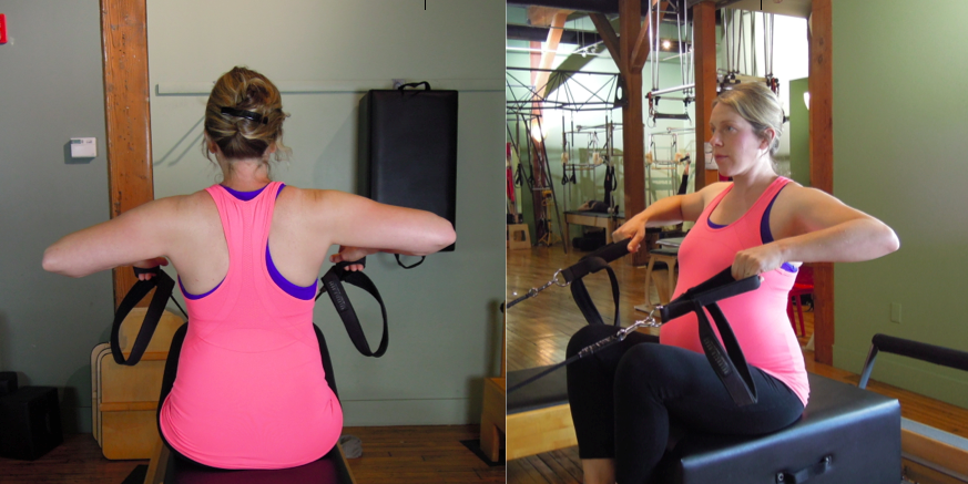 Seated Row, one of the many variations in the chariot series used to strength the upper back and shoulders while training sitting posture and pelvic floor muscle contractions too.