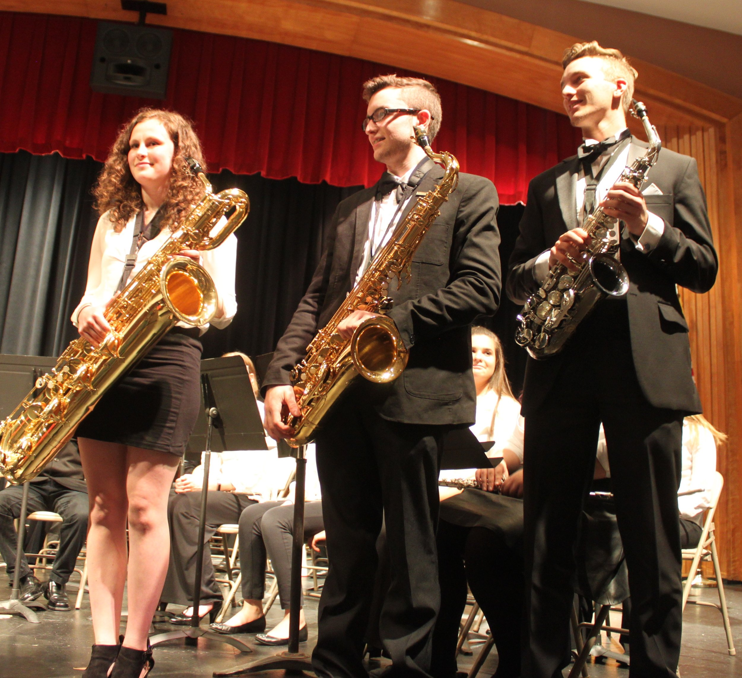 Saxophone soloist acknowledged in the Claflin Hill Youth Symphonies Wind Ensemble