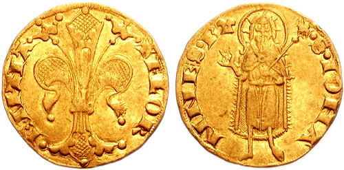 Gold Florin with St John the Baptist in a hair shirt.
