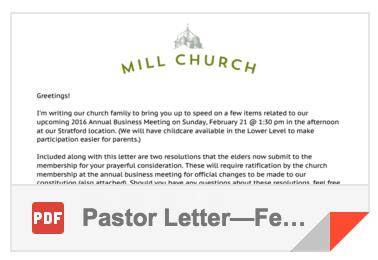 2016 Pastor's Letter