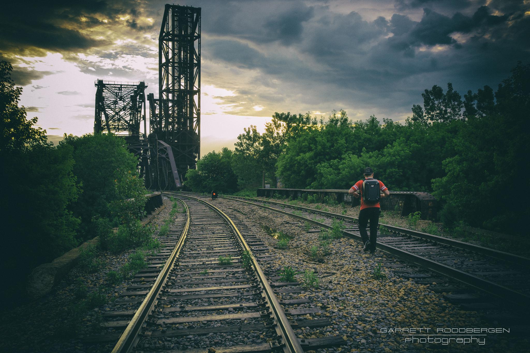 Walk #photographyislife #photography #canon #chicago #citylife #sunset #life #train #tracks #railroad #walk #bridge #sky #lonely #walkingdead #homage #apocalypse #after #empty #world #light