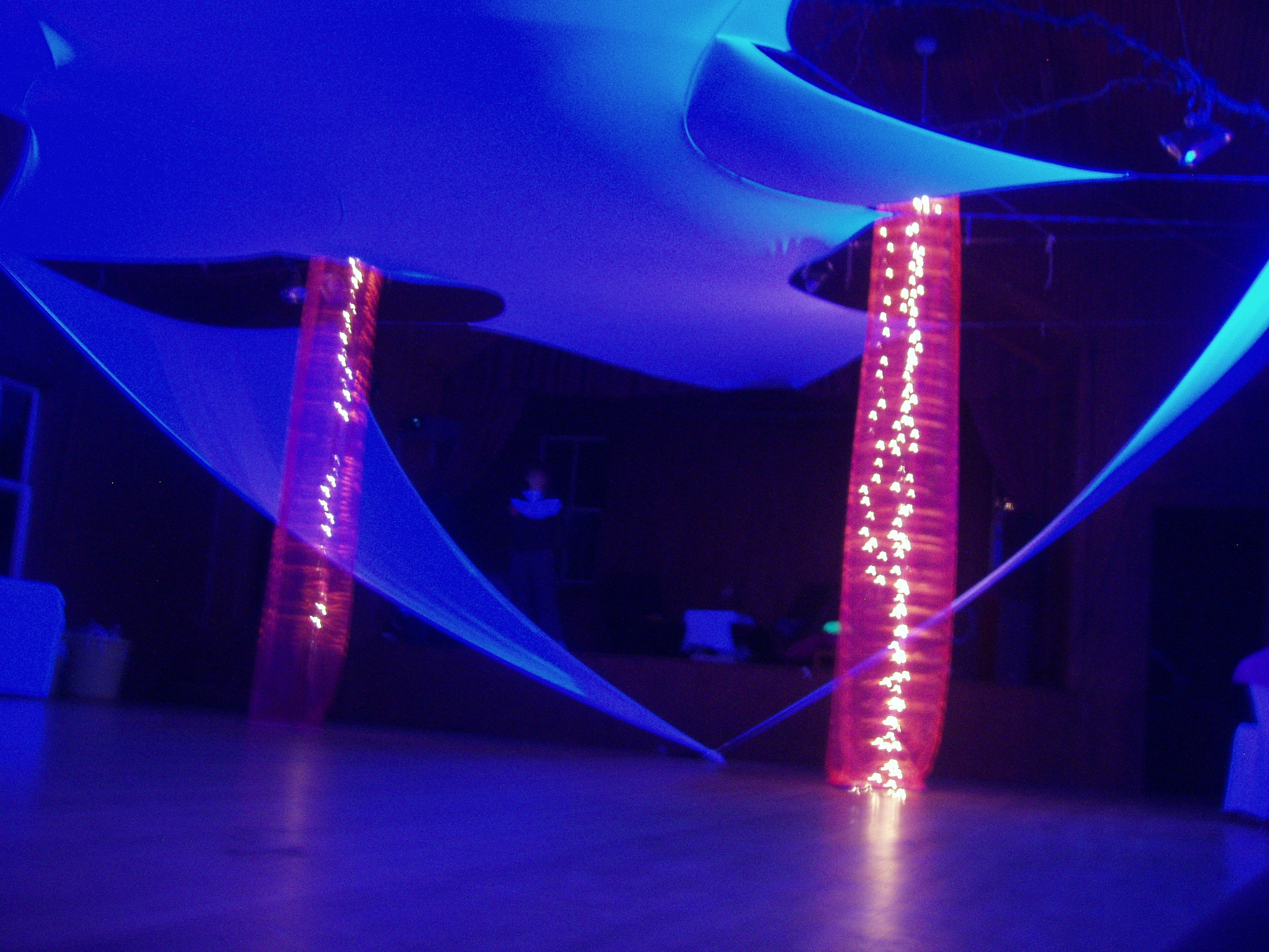 "Projection Stretch Fabric, A ""Black Light"" Sweet 16 party"