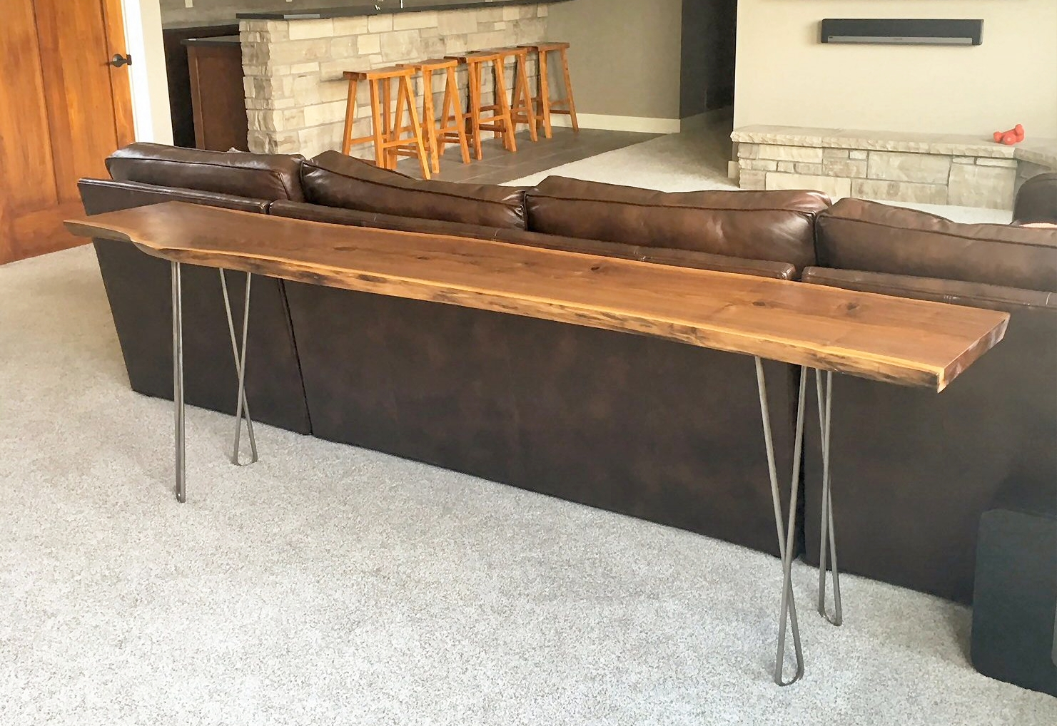 """Black Walnut Live Edge Sofa/Entry Table 96"""" L X 14"""" W X 30"""" T. The legs come in a variety of designs. This table has raw metal twisted hairpin legs....$525.00"""