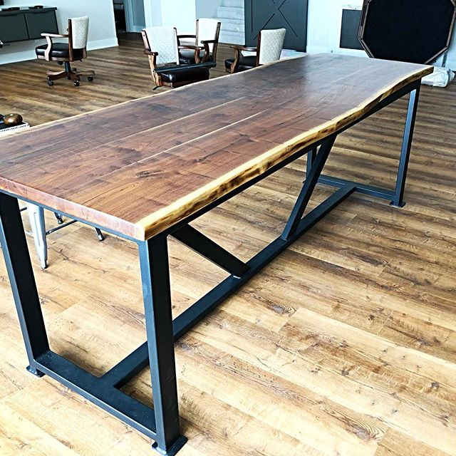 We built this custom live edge bar top table for a new home in the Omaha area.