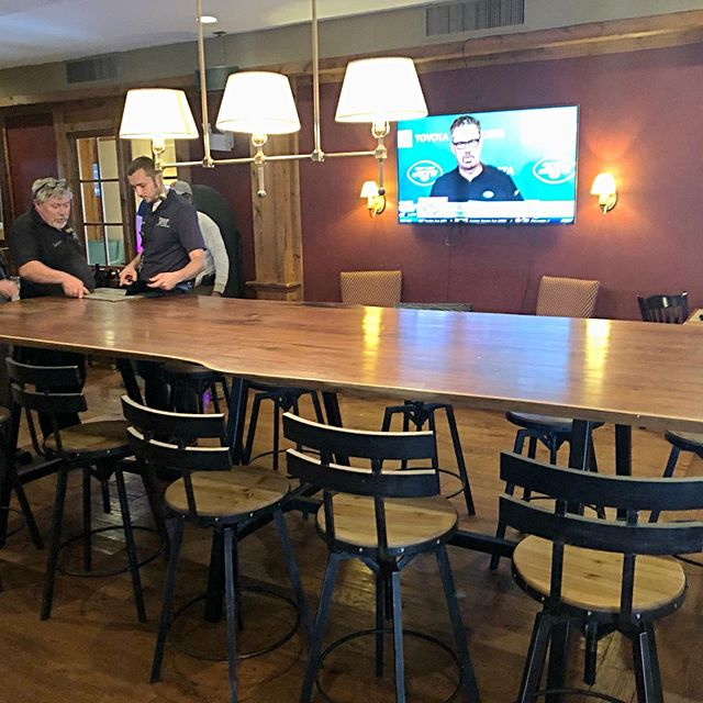 "This very large pub table was just delivered to ""The Tavern"" in the Heritage Hotel Golf, Spa & Conference Center located in Southbury, Connecticut's scenic Litchfield Hills."