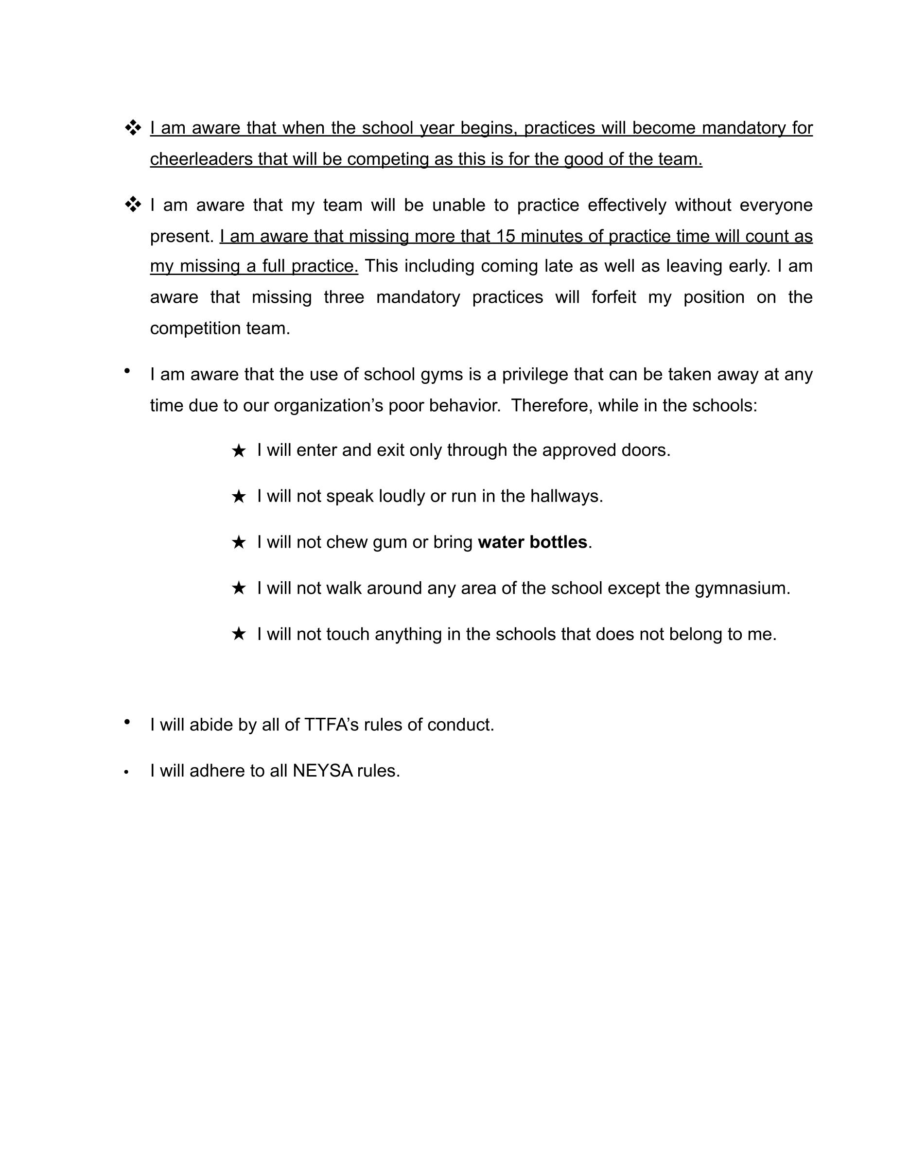 Cheerleading Code of Conduct #2