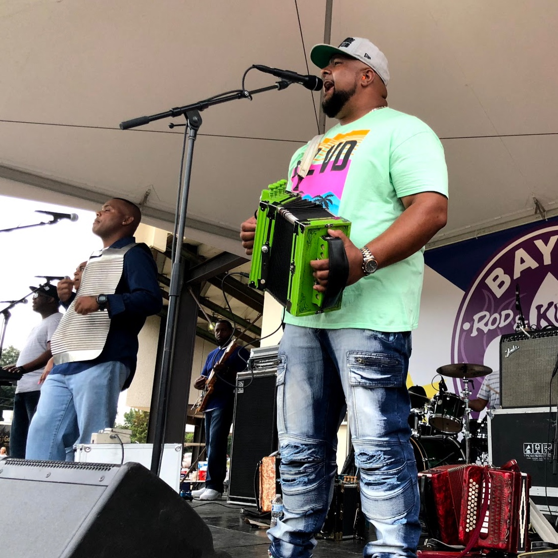 Keith Frank and the Soileau Zydeco Band performing at the 4th Annual Bayou Round Up