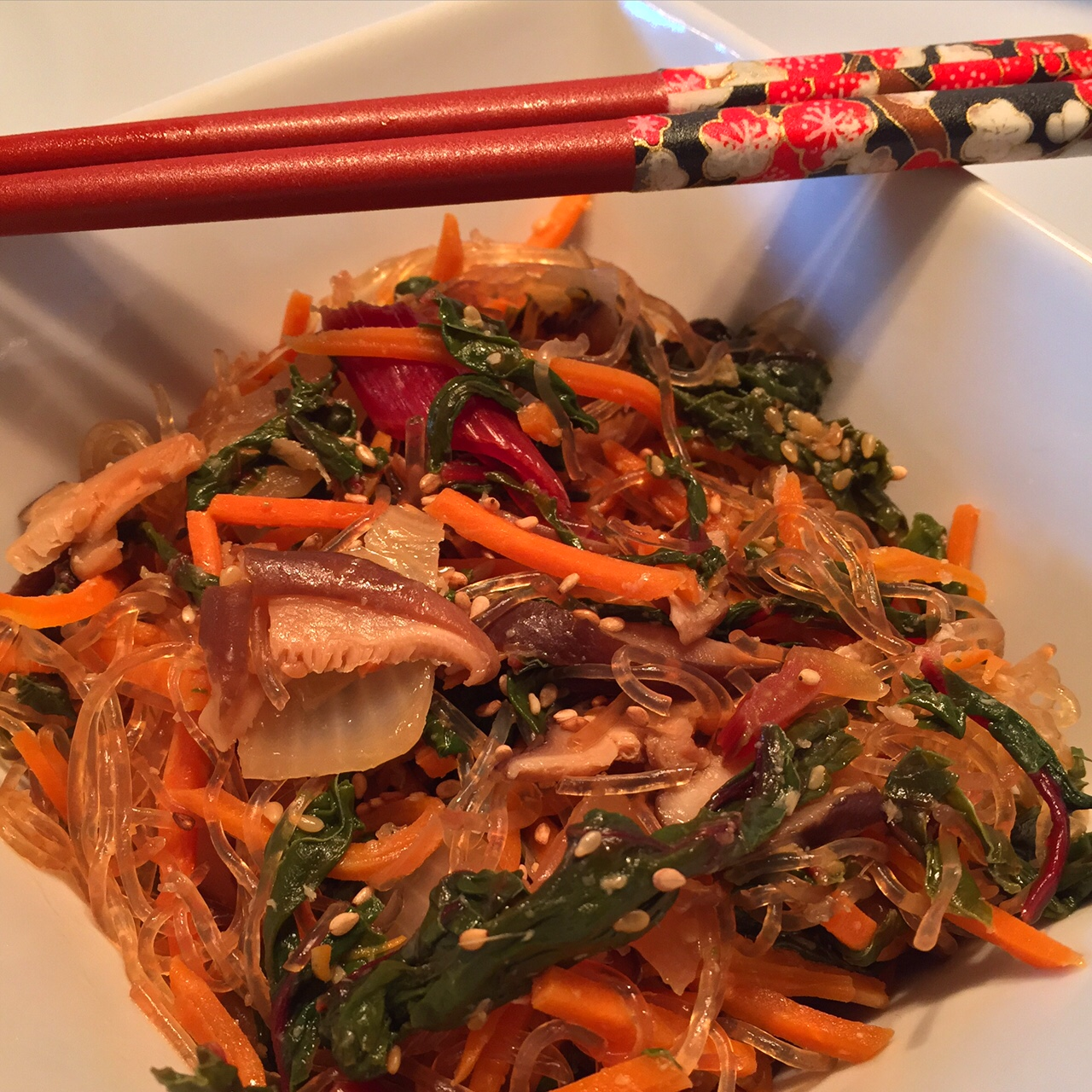 Kelp noodles are neutral, so they readily absorb the flavor and seasoning of whatever dish they're added to...