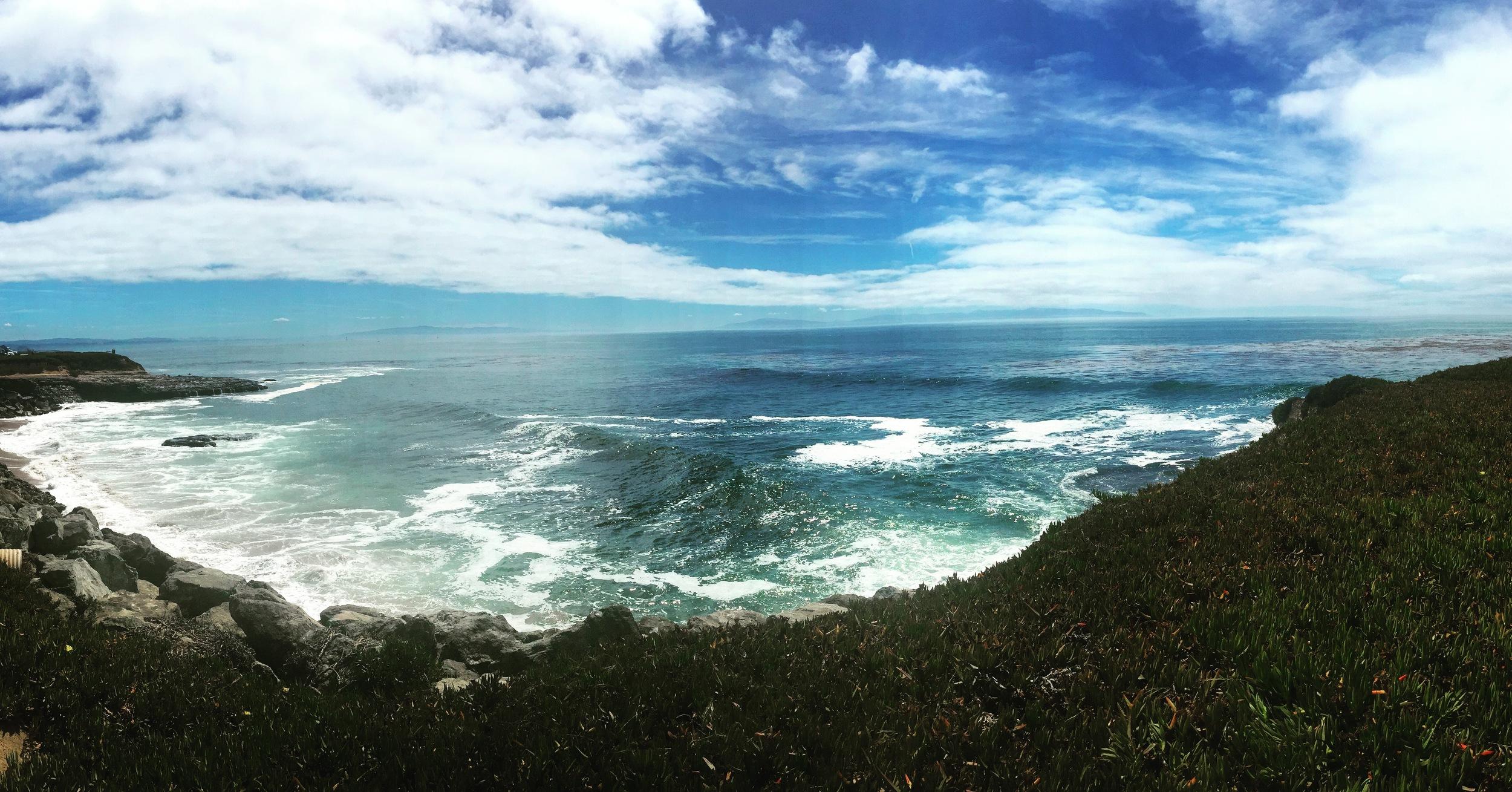 View along West Cliff in Santa Cruz, 50 miles in...