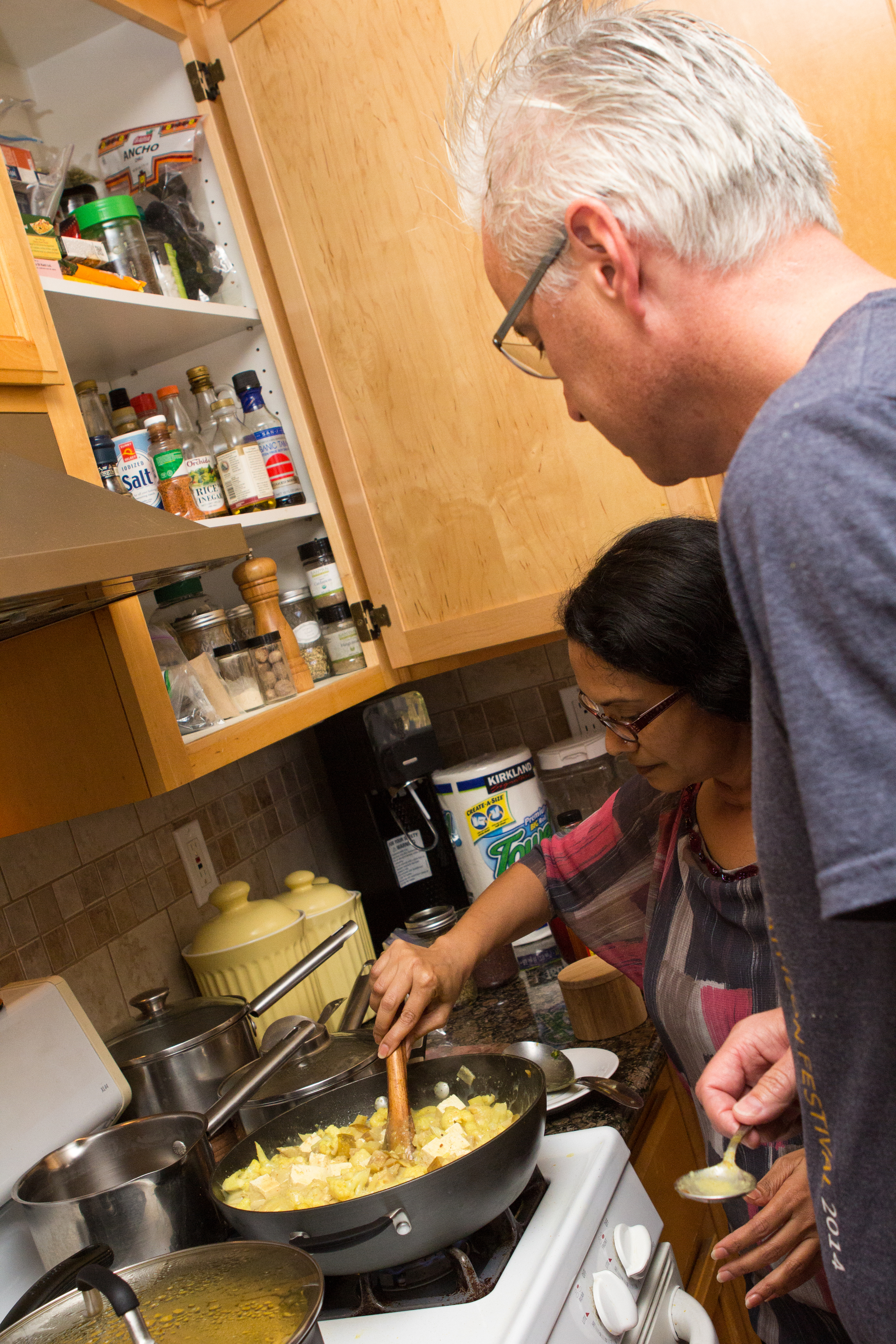 "Praveena showing Tony up close and personal how to prepare and use ayurvedic spices in our ""Spice of Life"" retreat."