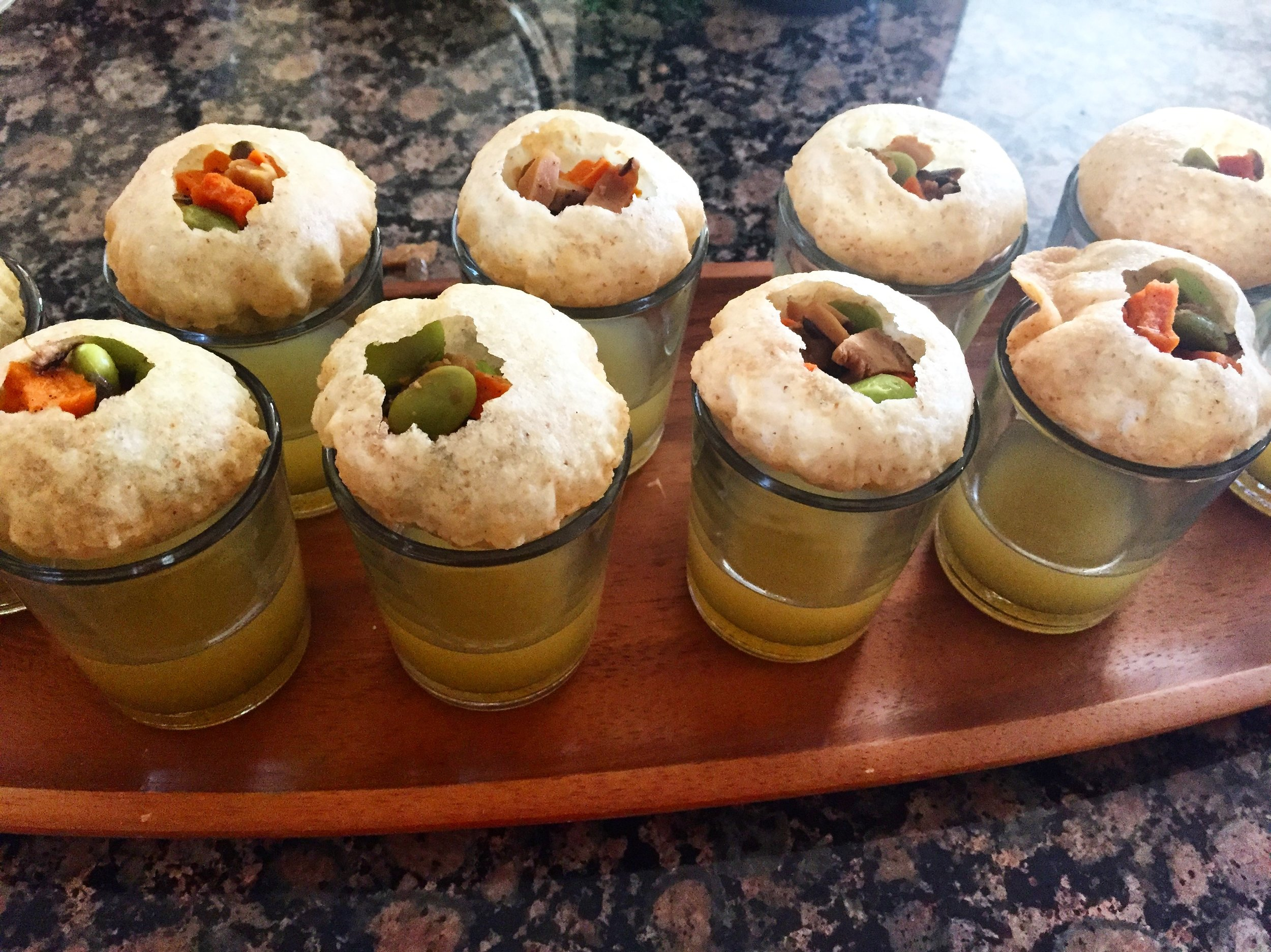 Pani puri shot appetizers!Chef Kumar put a creative twist on this by combining Indian and Japanese flavors. Each puri was filled with edamame, shiitake mushrooms and sweet potatoes, which was enjoyed with a shot mixture of green mango juice, ponzu, yuzu, ginger, rice wine vinegar and masala.