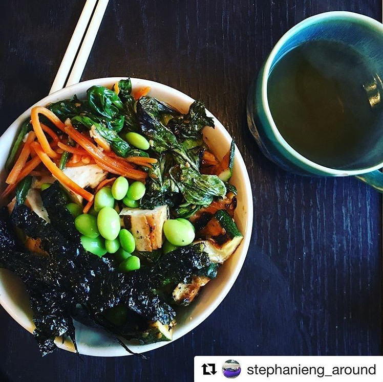 A delicious Buddha Bowl full of leafy greens, squash, carrots, tofu, edamame and nori over a bed of quinoa. One of the many beautiful recipes that Stephanie and James made into their own!