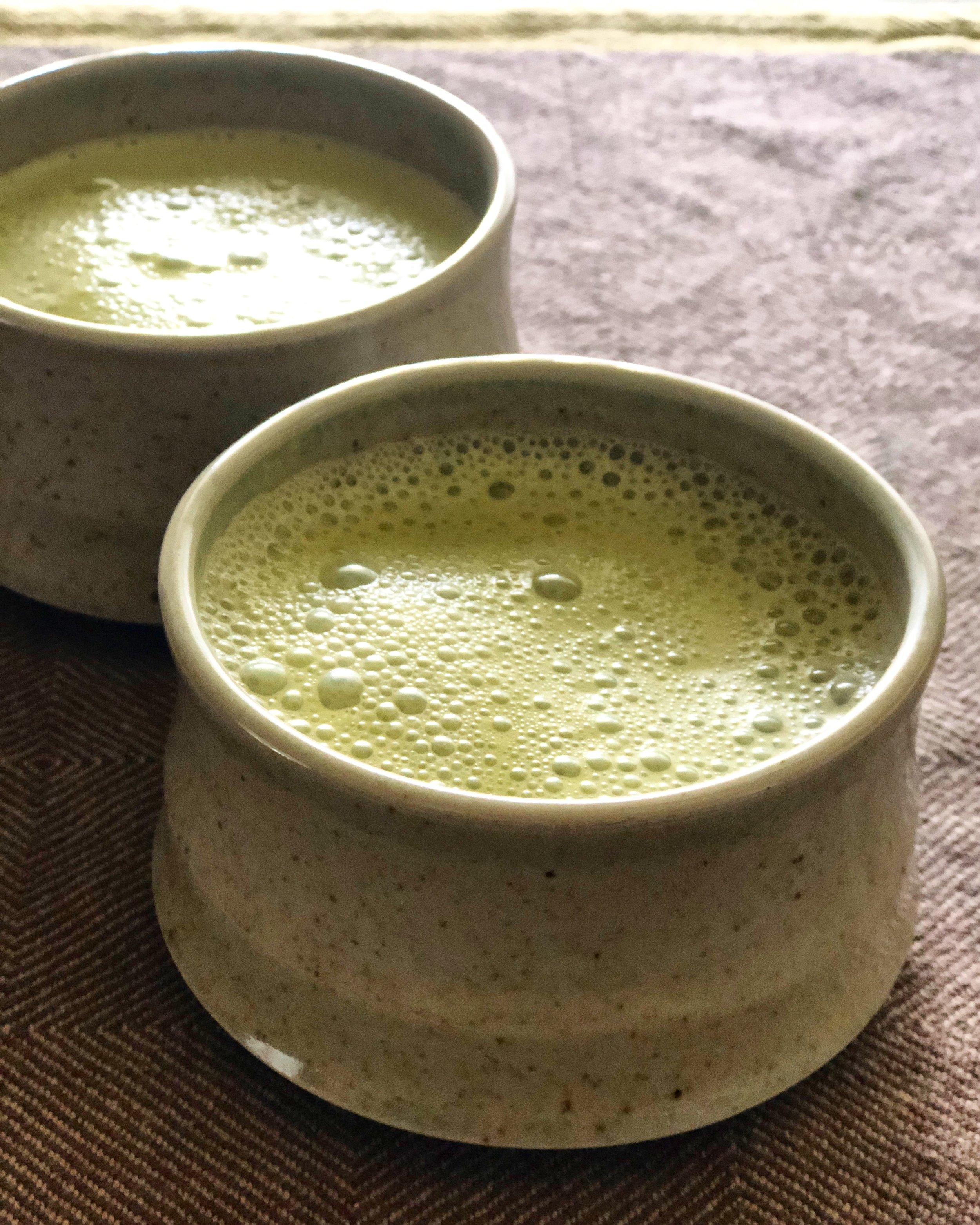 Enjoying some Matcha Tea Lattes in my dad's ceramic mugs... :)