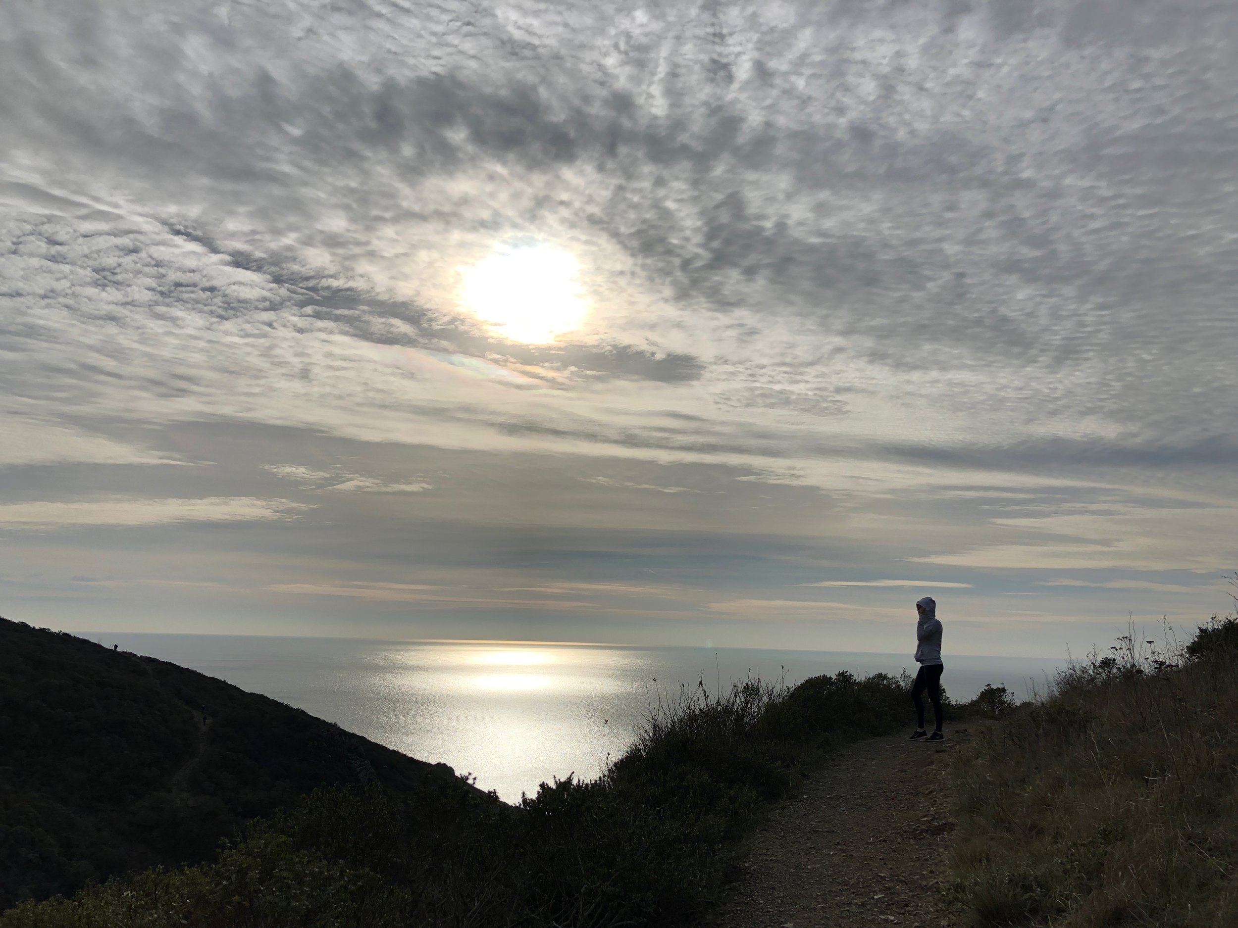 Learning about nutrition, doing guided visualization, and enjoying the beautiful ocean view from the beautiful trails of Marin Headlands.