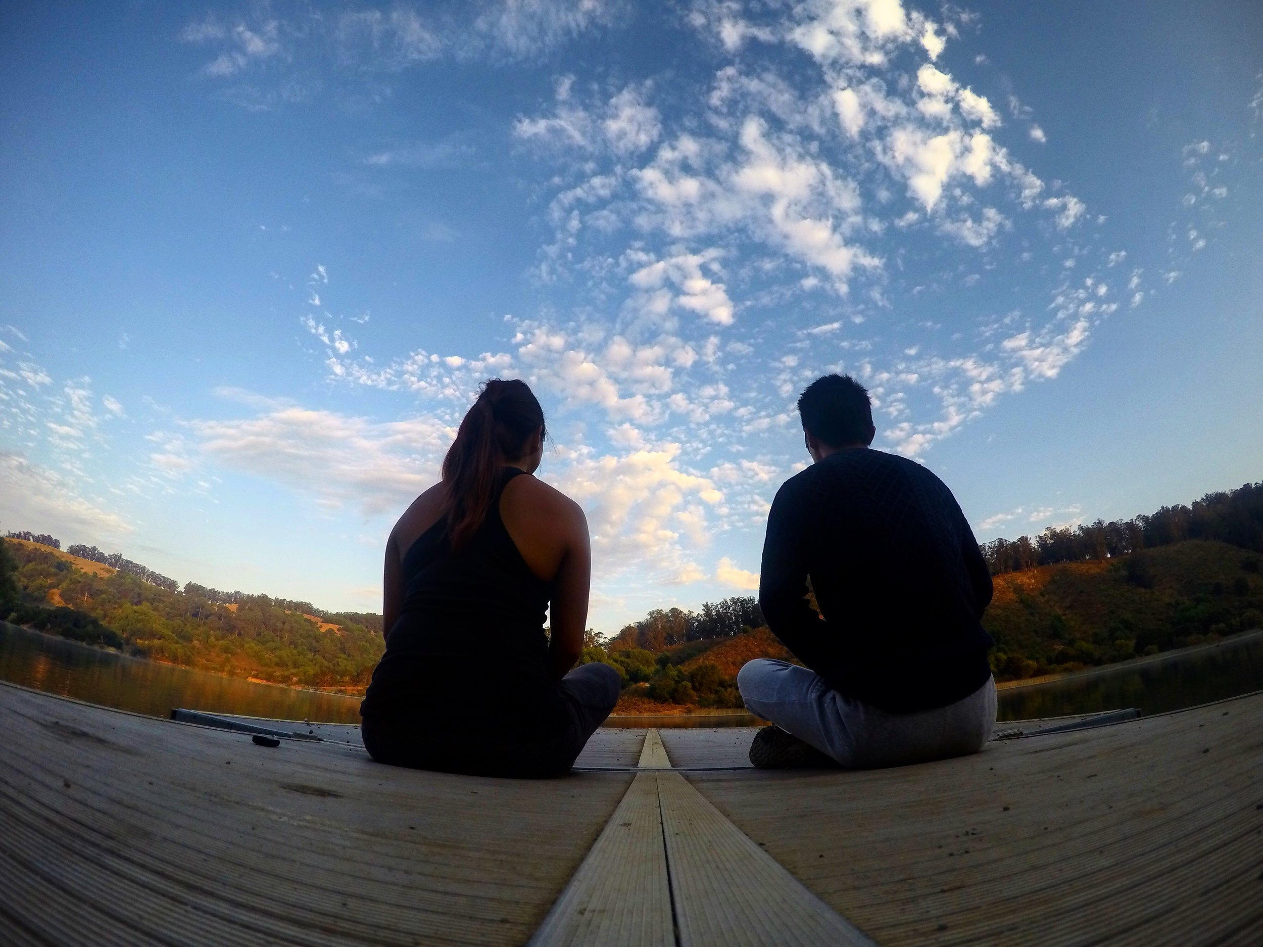 Sunrise nutrition coaching and guided meditation/visualization in nature at Lake Chabot Regional Park.