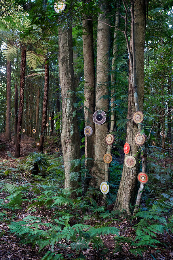 Michael McIntyre, Extinct Markers (detail), 2016, discarded cane, bamboo and grasses, acrylic and jute, 300 pieces, dimensions variable. Image-Keith Maxwell