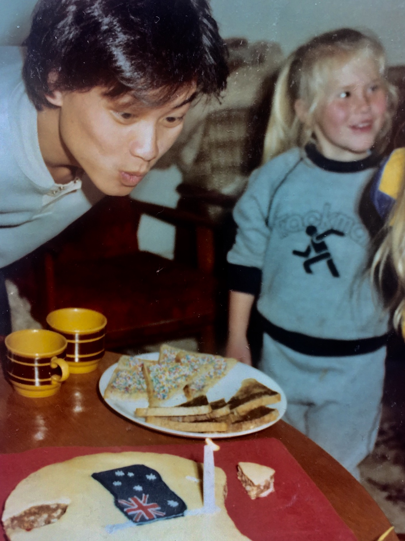 Dianne's daughter Eve and Tony at a party celebrating Tony's Australian citizenship in the early 80s.