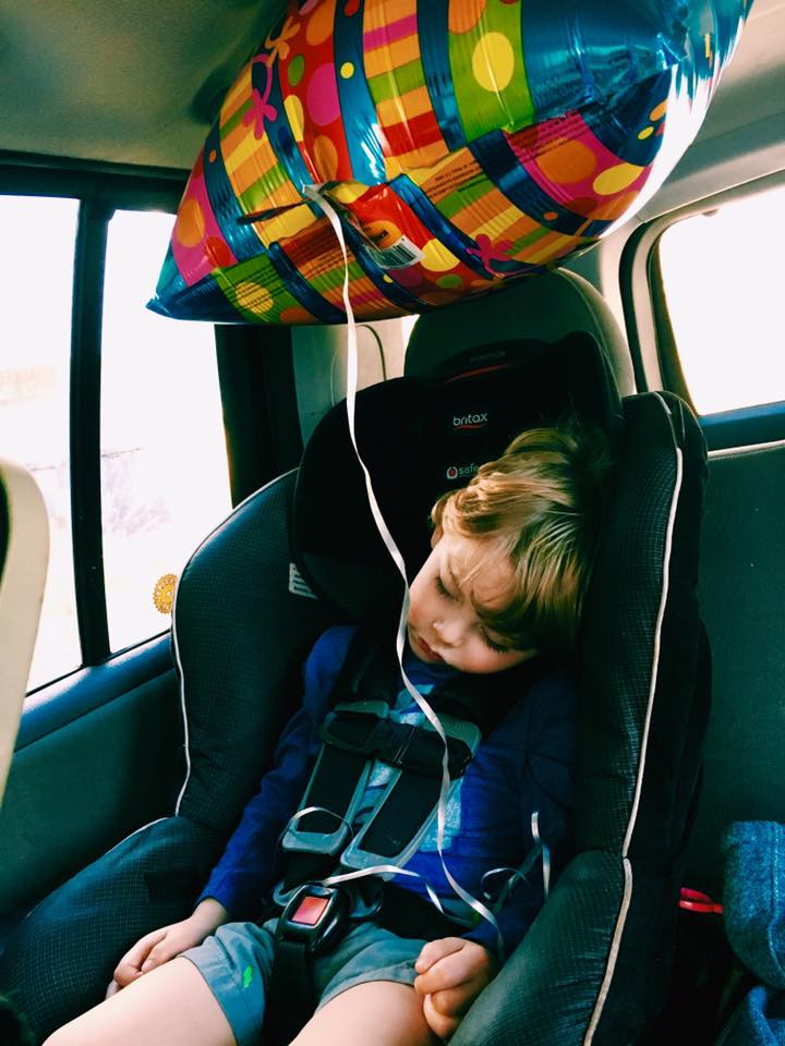 """February 19.    It's rare that he takes a nap anymore.  Today, after celebrating his great Grandmommy's birthday with cousins, he said, """"Mama, I had a fun day.""""❤️  And just like that, he was out 😴"""